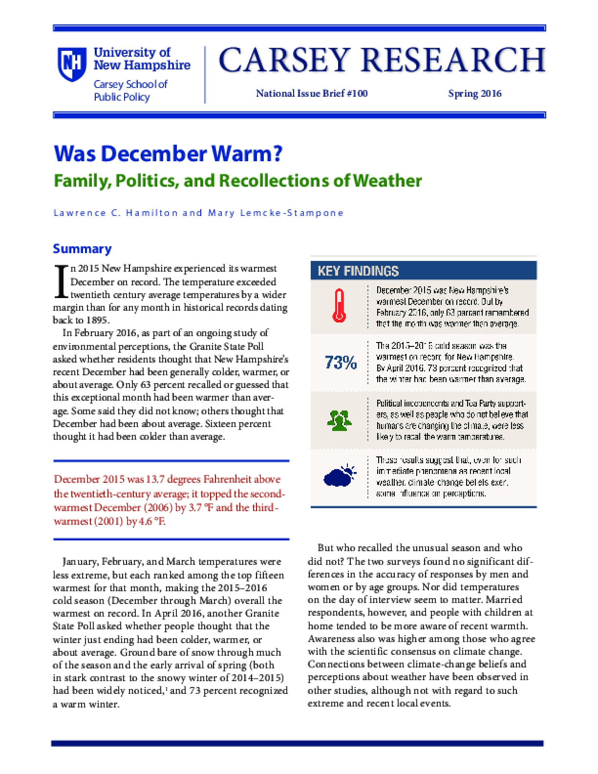 Was December Warm?: Family, Politics, and Recollections of Weather