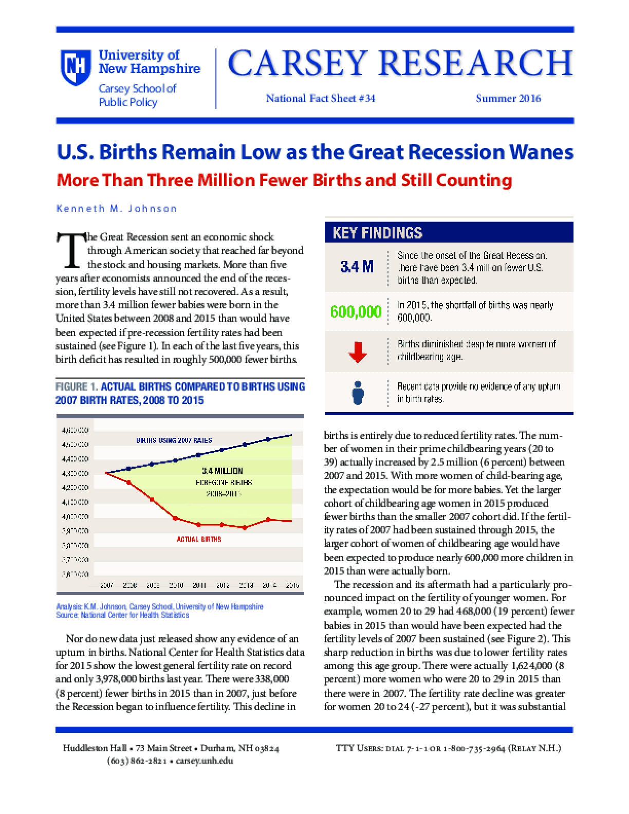 U.S. Births Remain Low as the Great Recession Wanes