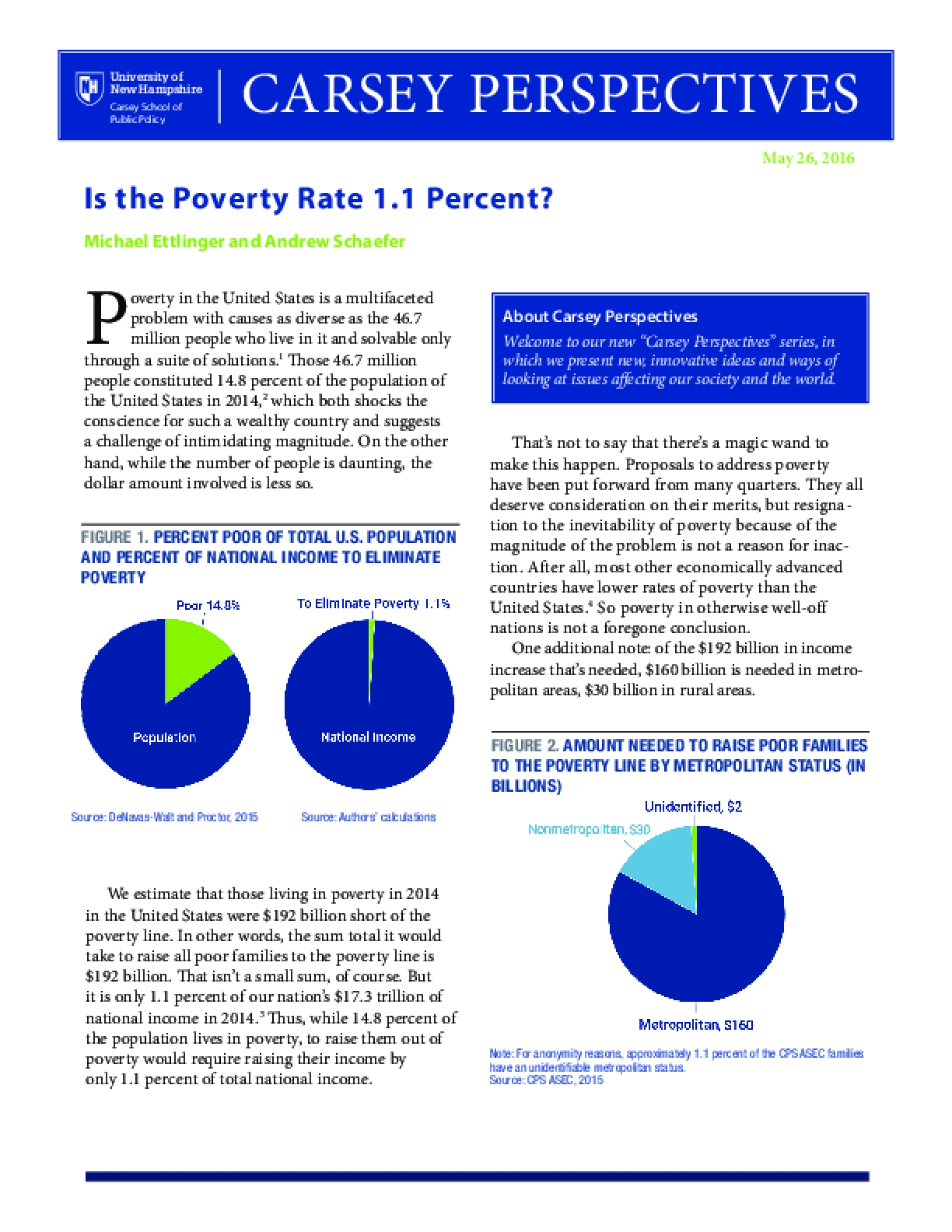 Carsey Perspective: Is the Poverty Rate 1.1 Percent?