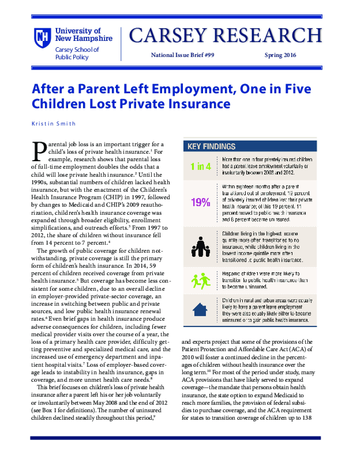 After a Parent Left Employment, One in Five Children Lost Private Insurance