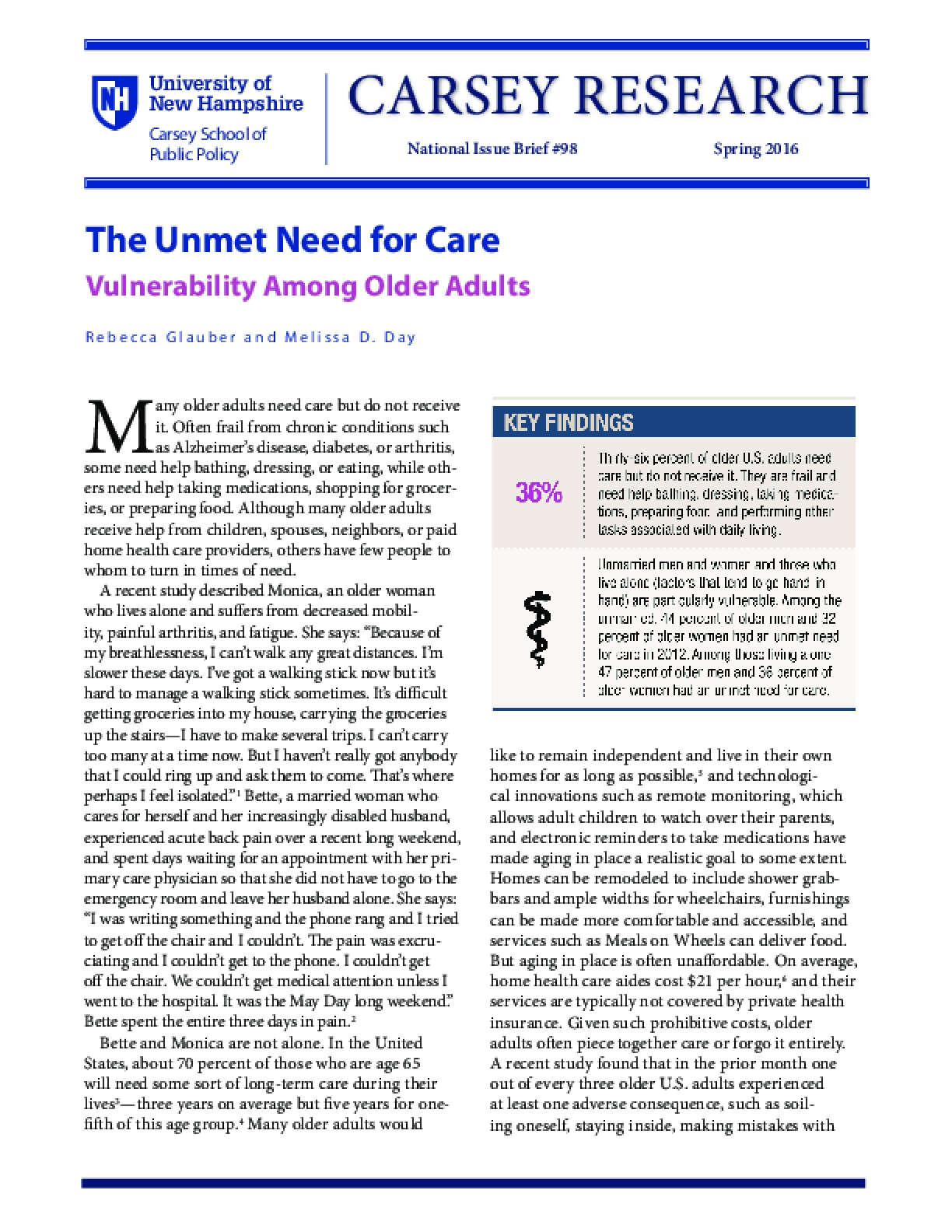 The Unmet Need for Care