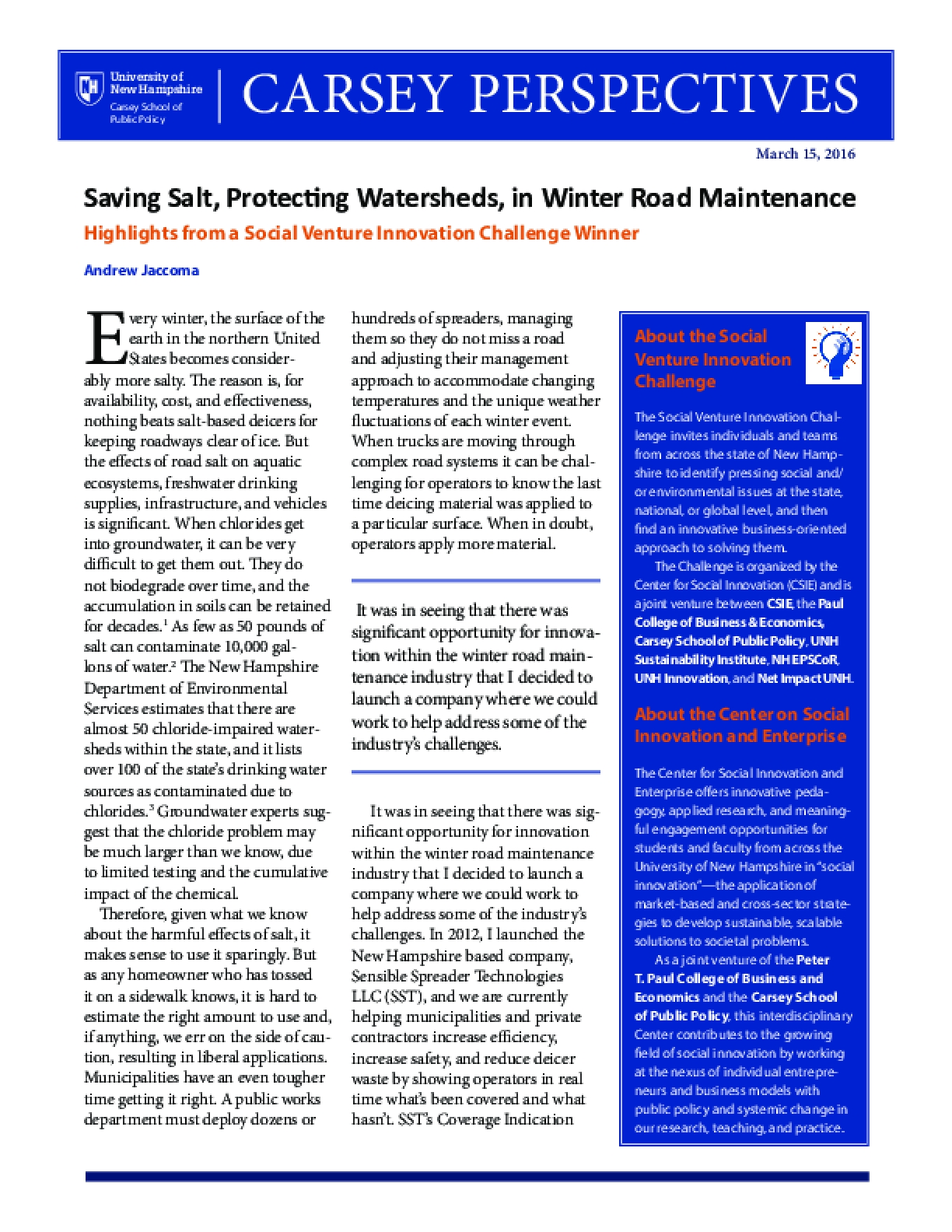 Carsey Perspectives: Saving Salt, Protecting Watersheds, in Winter Road Maintenance