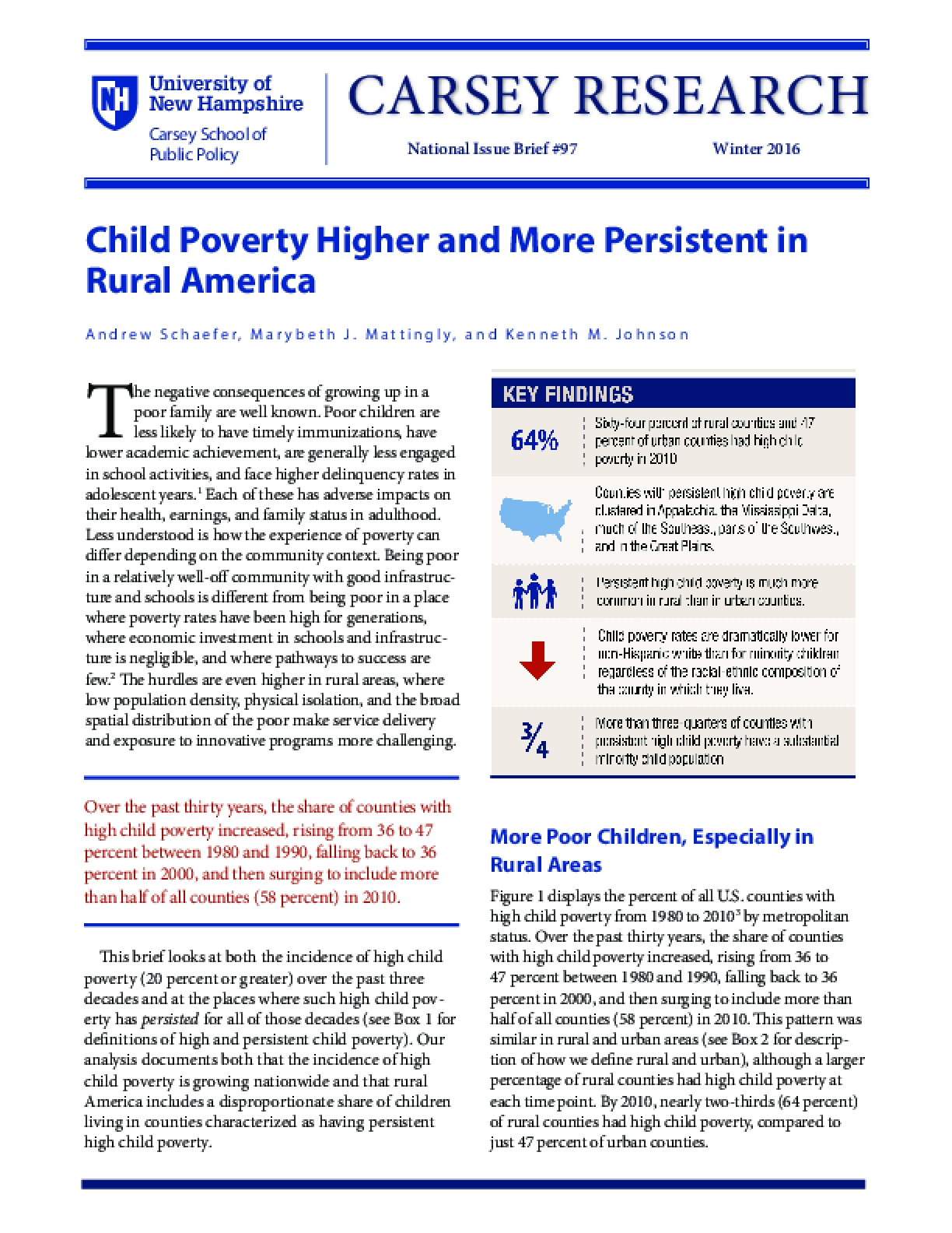 Child Poverty Higher and More Persistent in Rural America