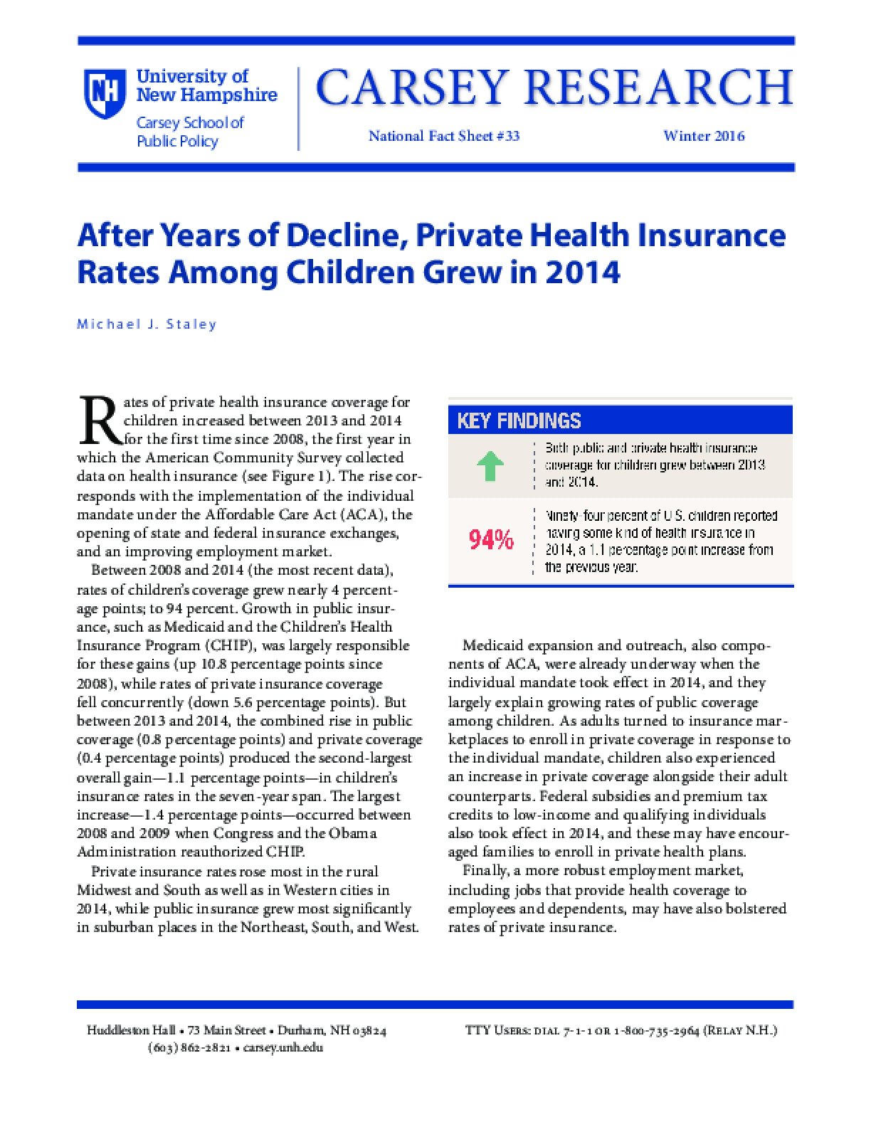 After Years of Decline, Private Health Insurance Rates Among Children Grew in 2014