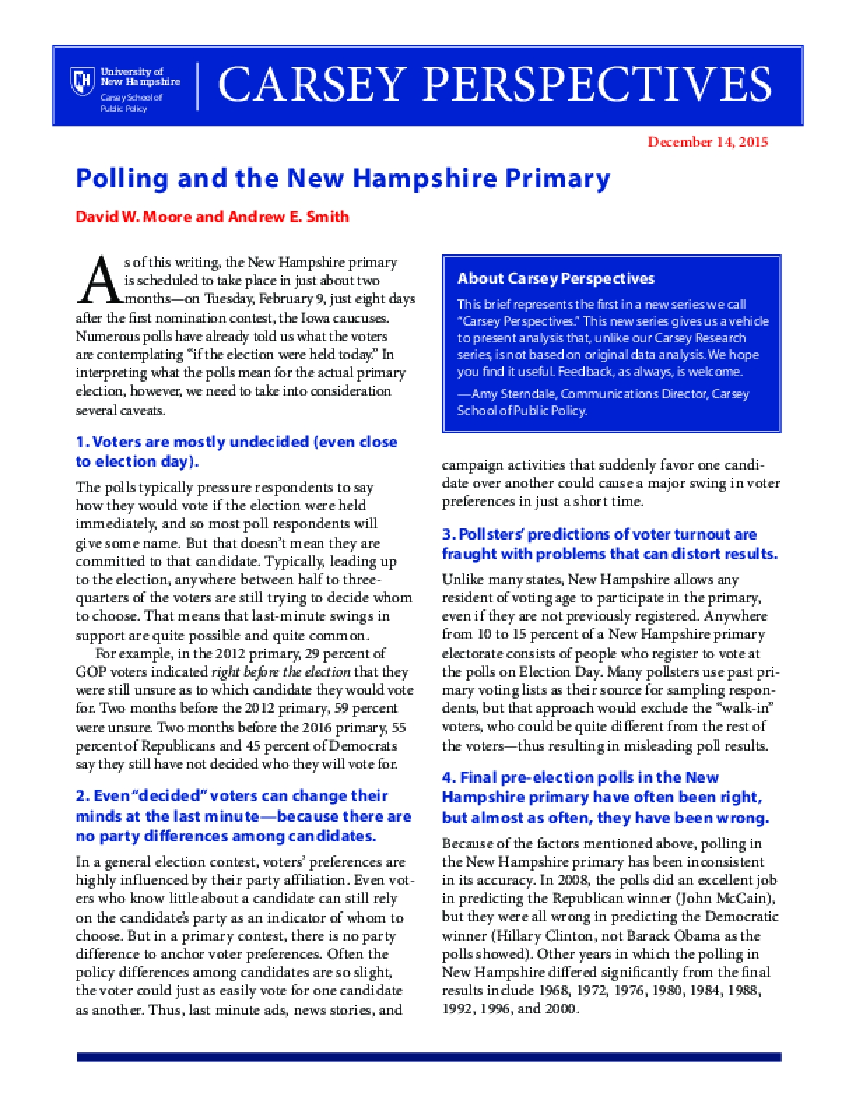 Carsey Perspectives: Polling and the New Hampshire Primary