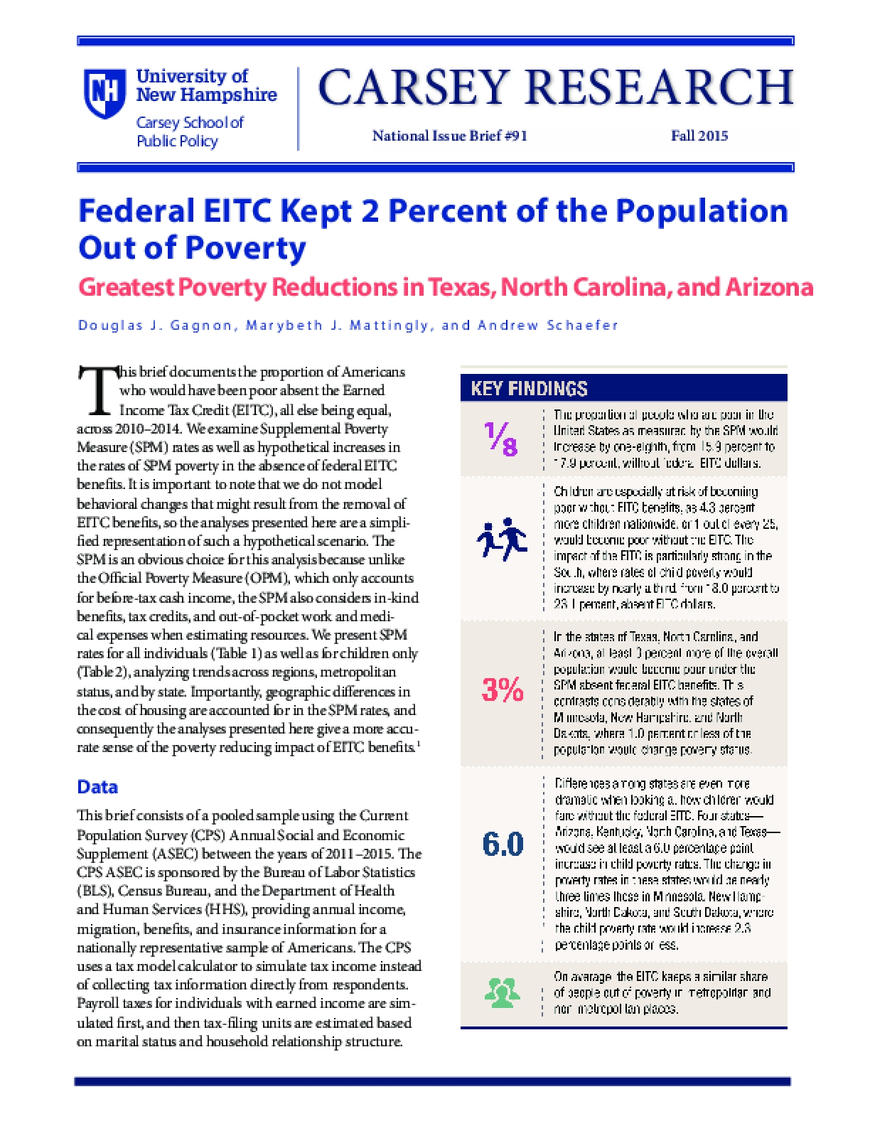 Federal EITC Kept 2 Percent of the Population Out of Poverty