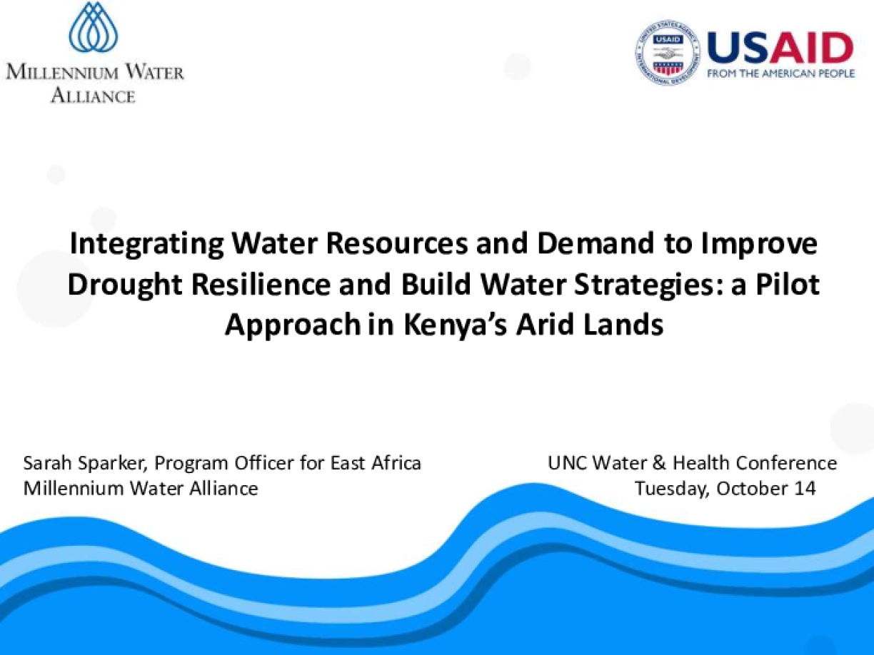 Integrating Water Resources and Demand to Improve Drought Resilience and Build Water Strategies: A Pilot Approach in Kenya's Arid Lands
