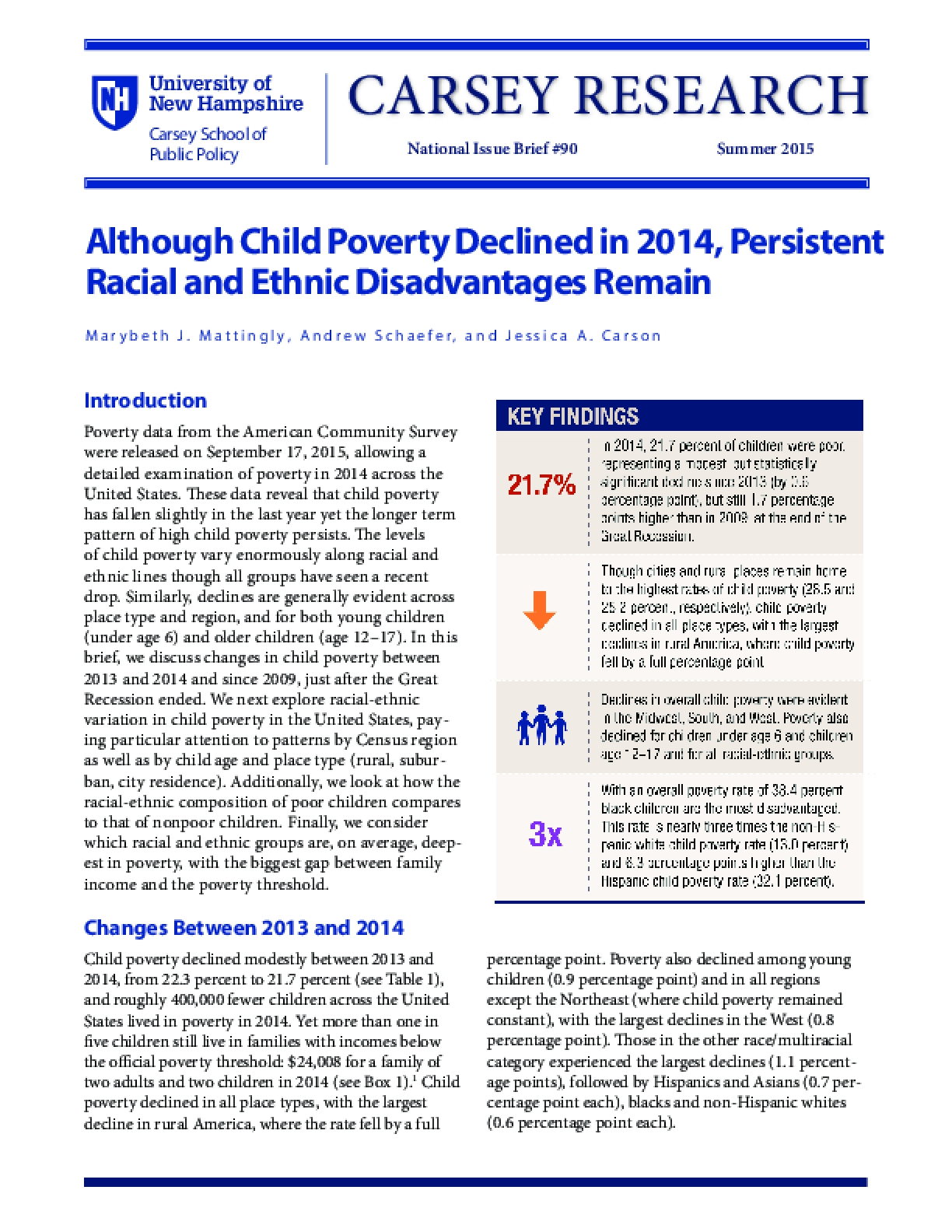 Although Child Poverty Declined in 2014, Persistent Racial and Ethnic Disadvantages Remain
