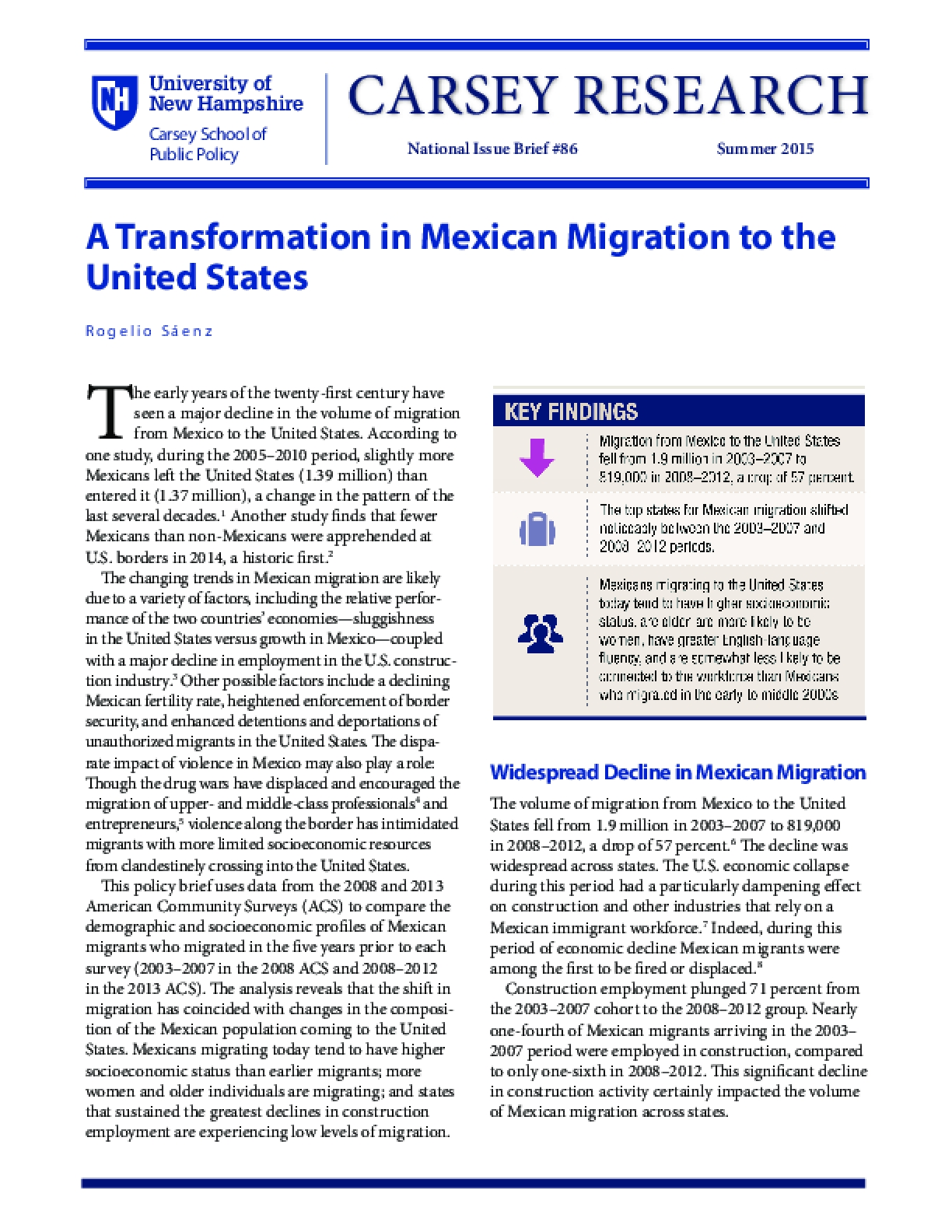 A Transformation in Mexican Migration to the United States