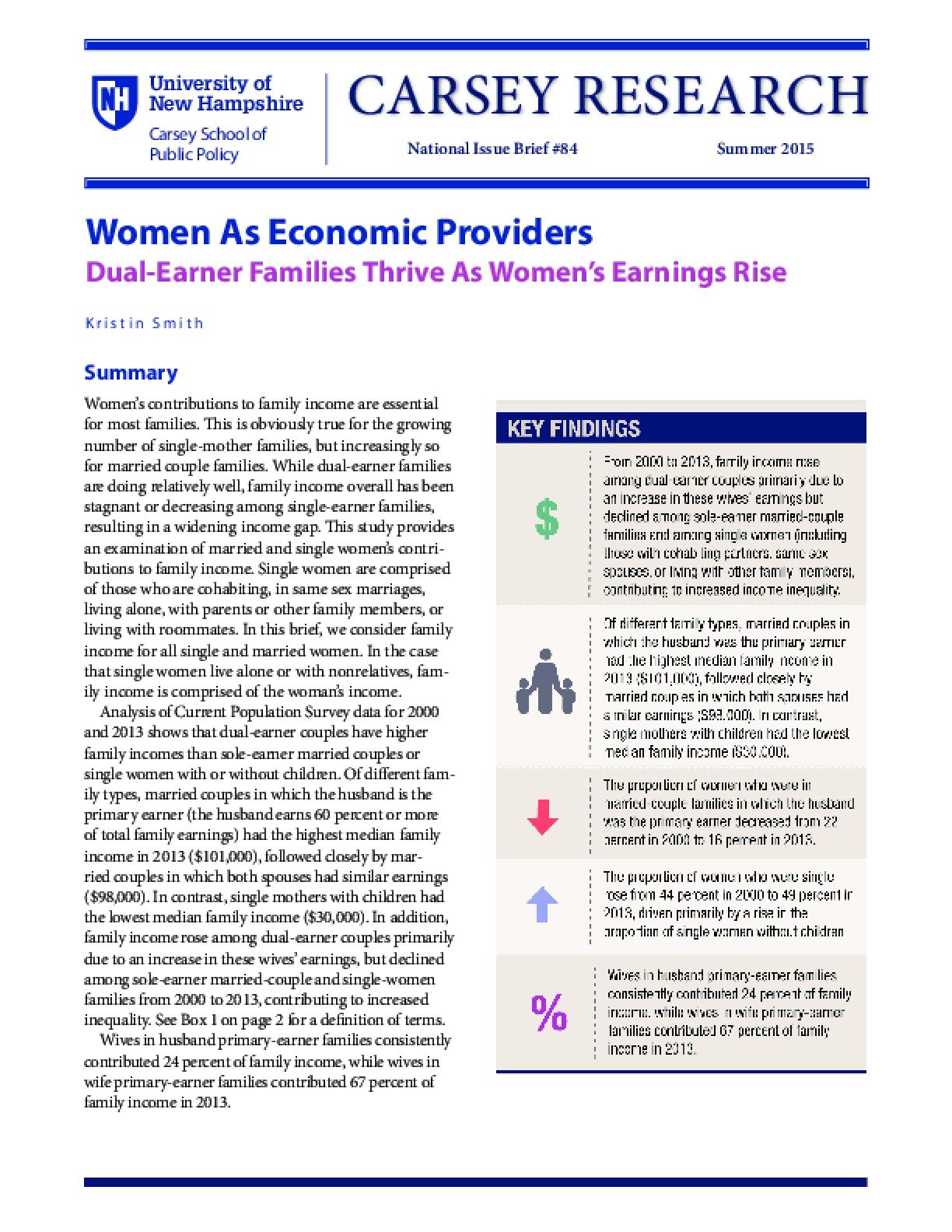 Women As Economic Providers