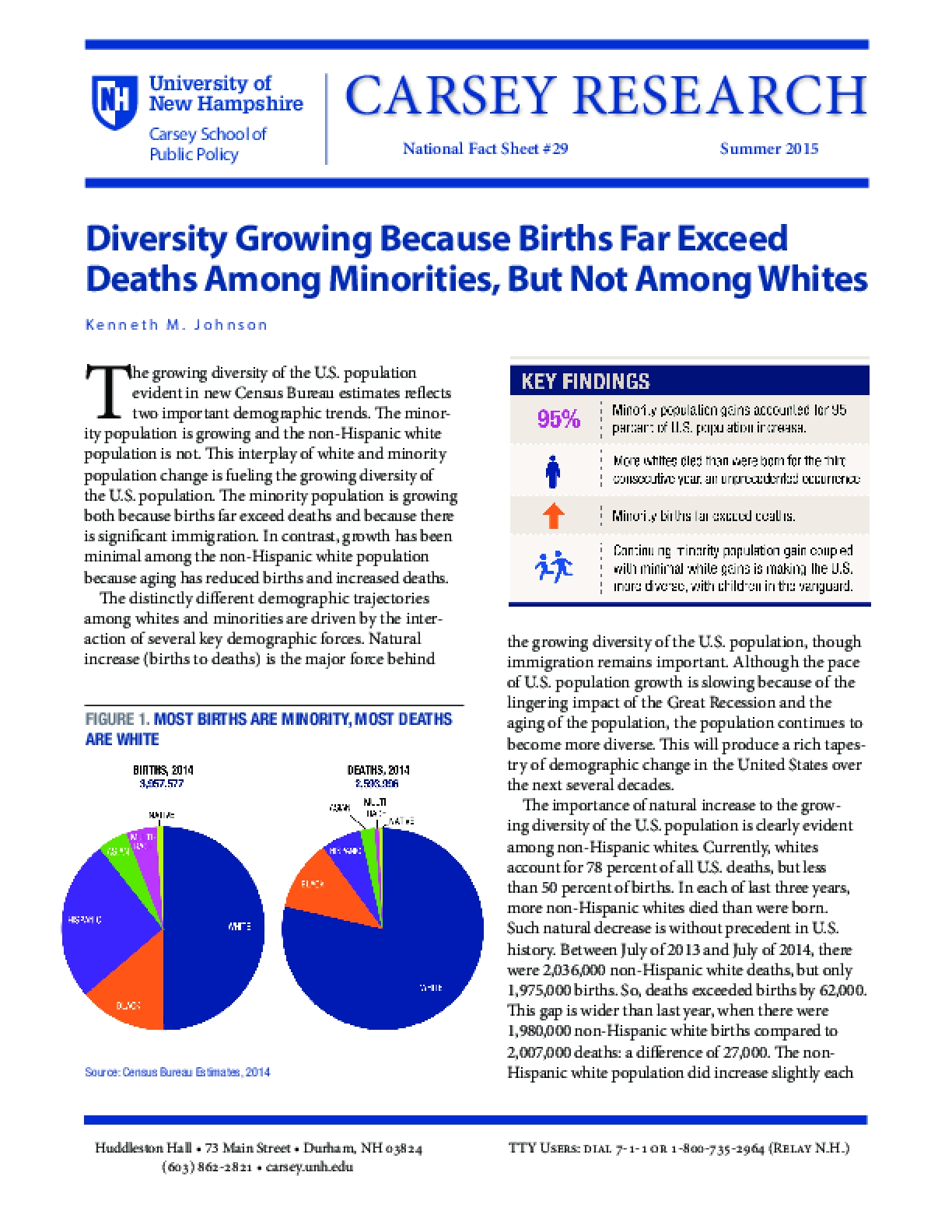 Diversity Growing Because Births Far Exceed Deaths Among Minorities, But Not Among Whites
