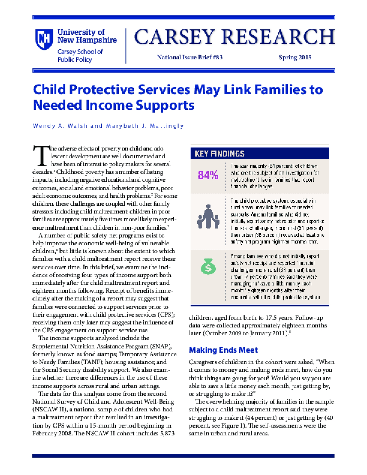 Child Protective Services May Link Families to Needed Income Supports