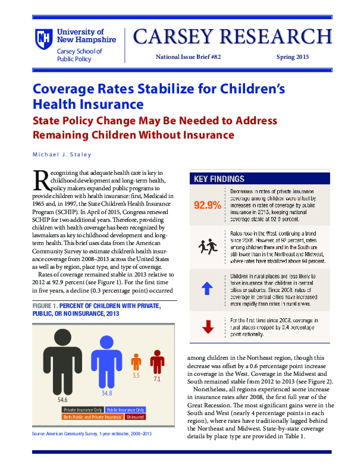 Coverage Rates Stabilize for Children's Health Insurance