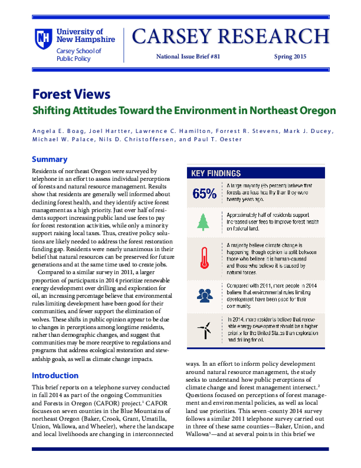 Forest Views Shifting Attitudes Toward the Environment in Northeast Oregon