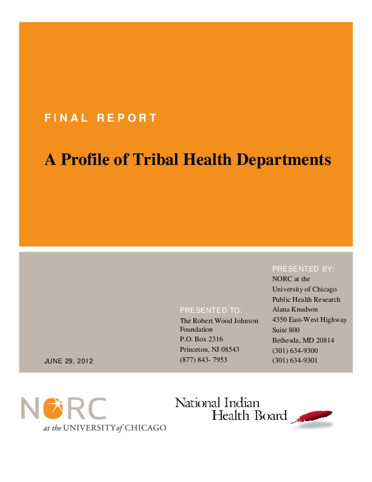 A Profile of Tribal Health Departments