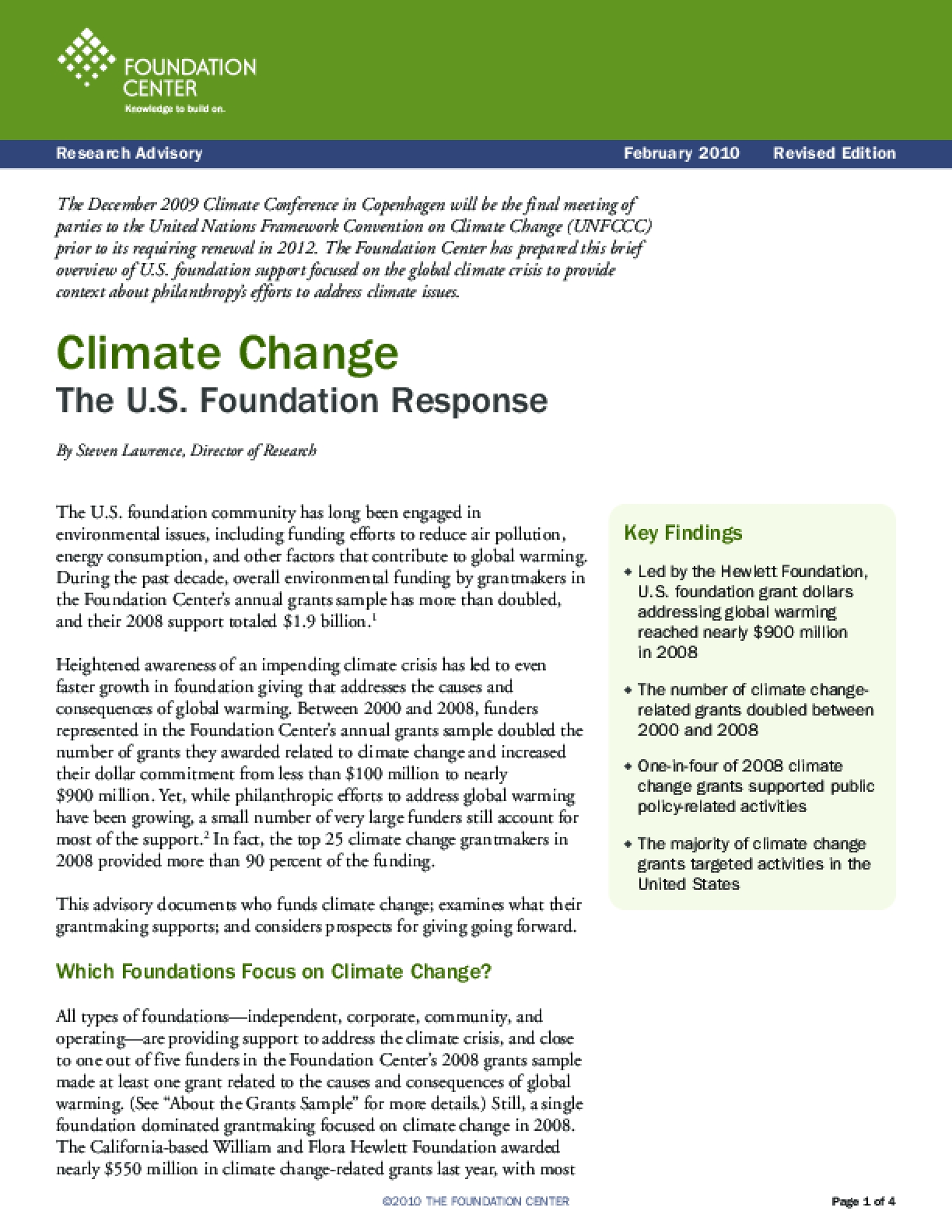 Climate Change: The U.S. Foundation Response
