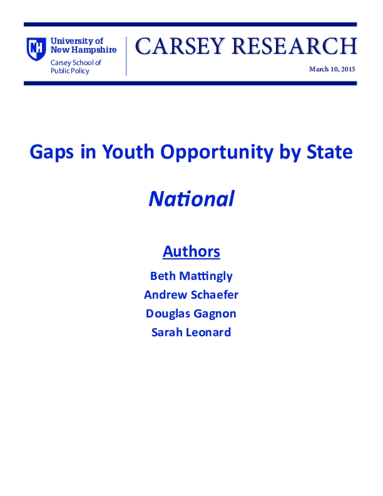 Gaps in Youth Opportunity by State