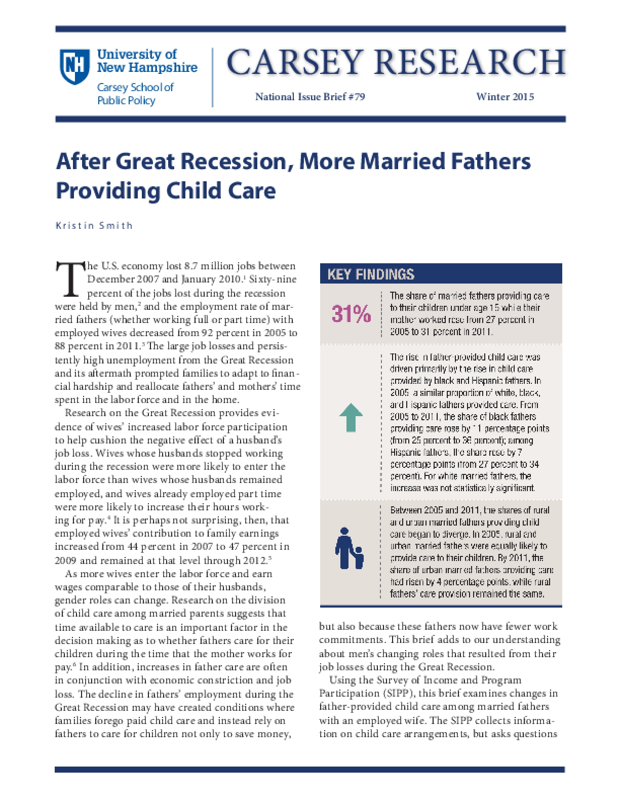 After Great Recession, More Married Fathers Providing Child Care