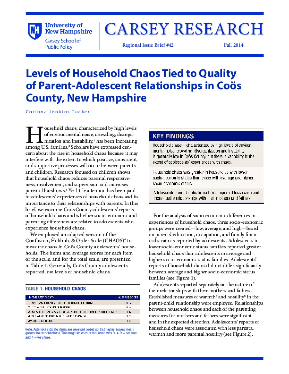 Levels of Household Chaos Tied to Quality of Parent-Adolescent Relationships in Coös County, New Hampshire