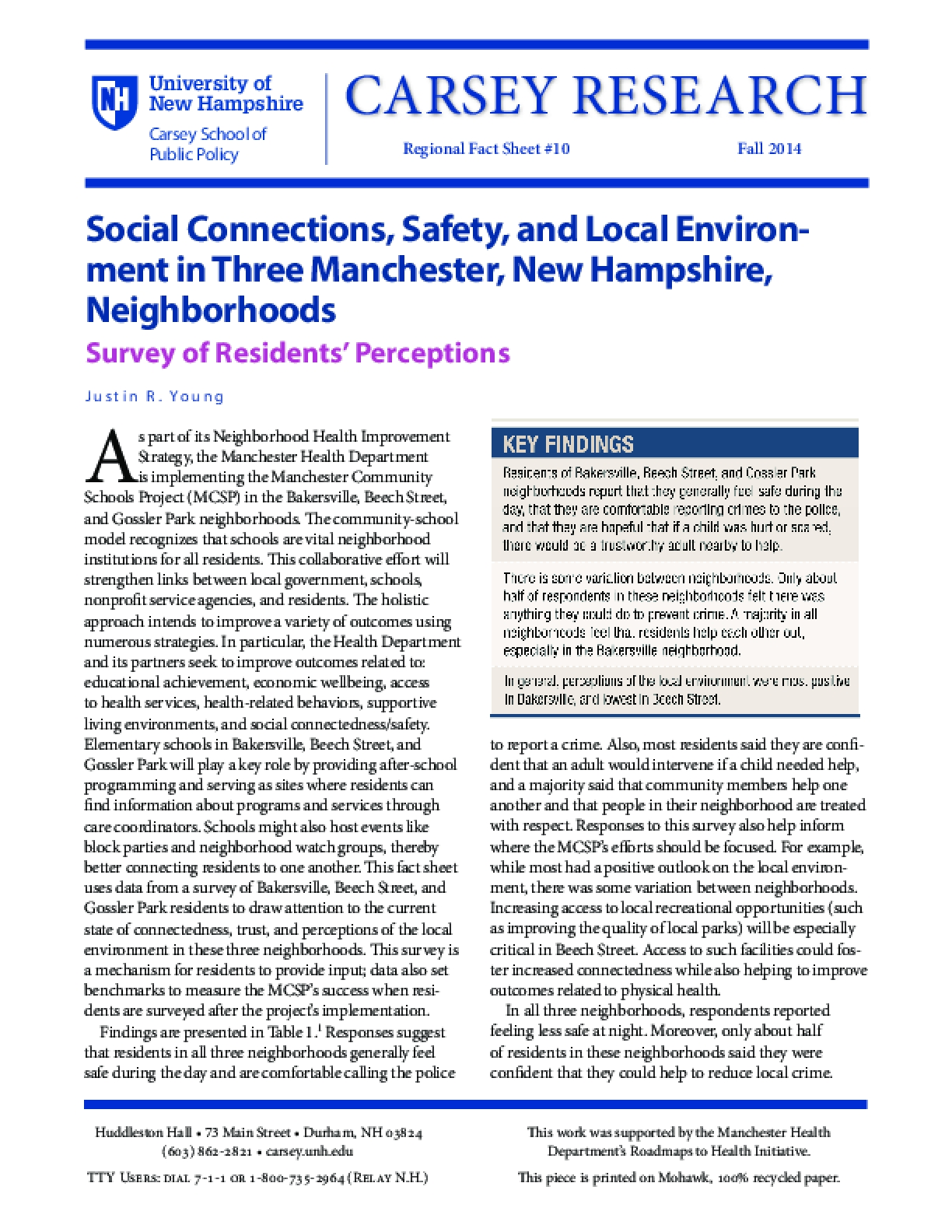 Social Connections, Safety, and Local Environment in Three Manchester, New Hampshire, Neighborhoods