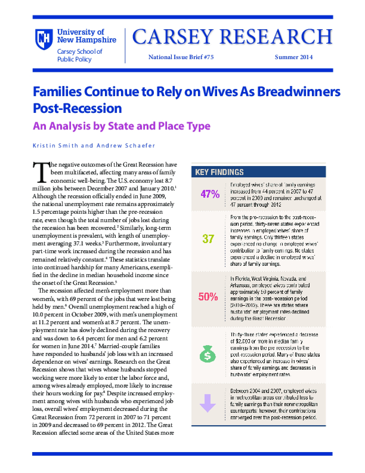 Families Continue to Rely on Wives As Breadwinners Post-Recession