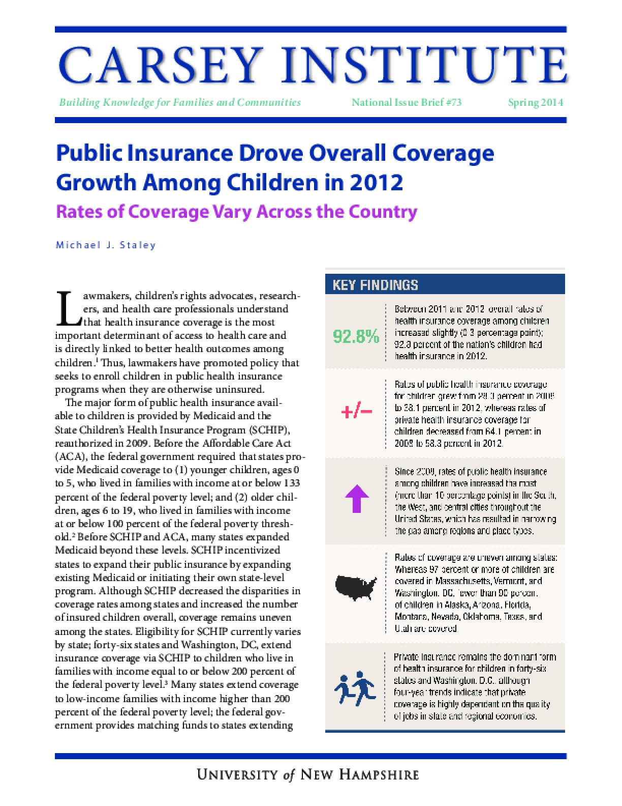 Public Insurance Drove Overall Coverage Growth Among Children in 2012