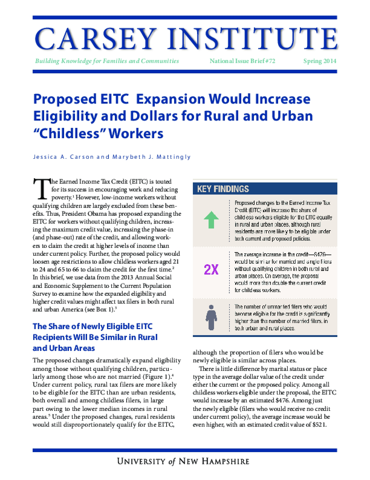 """Proposed EITC Expansion Would Increase Eligibility and Dollars for Rural and Urban """"Childless"""" Workers"""