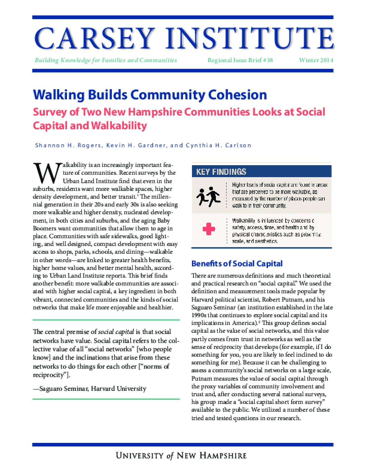 Walking Builds Community Cohesion: Survey of Two New Hampshire Communities Looks at Social Capital and Walkability