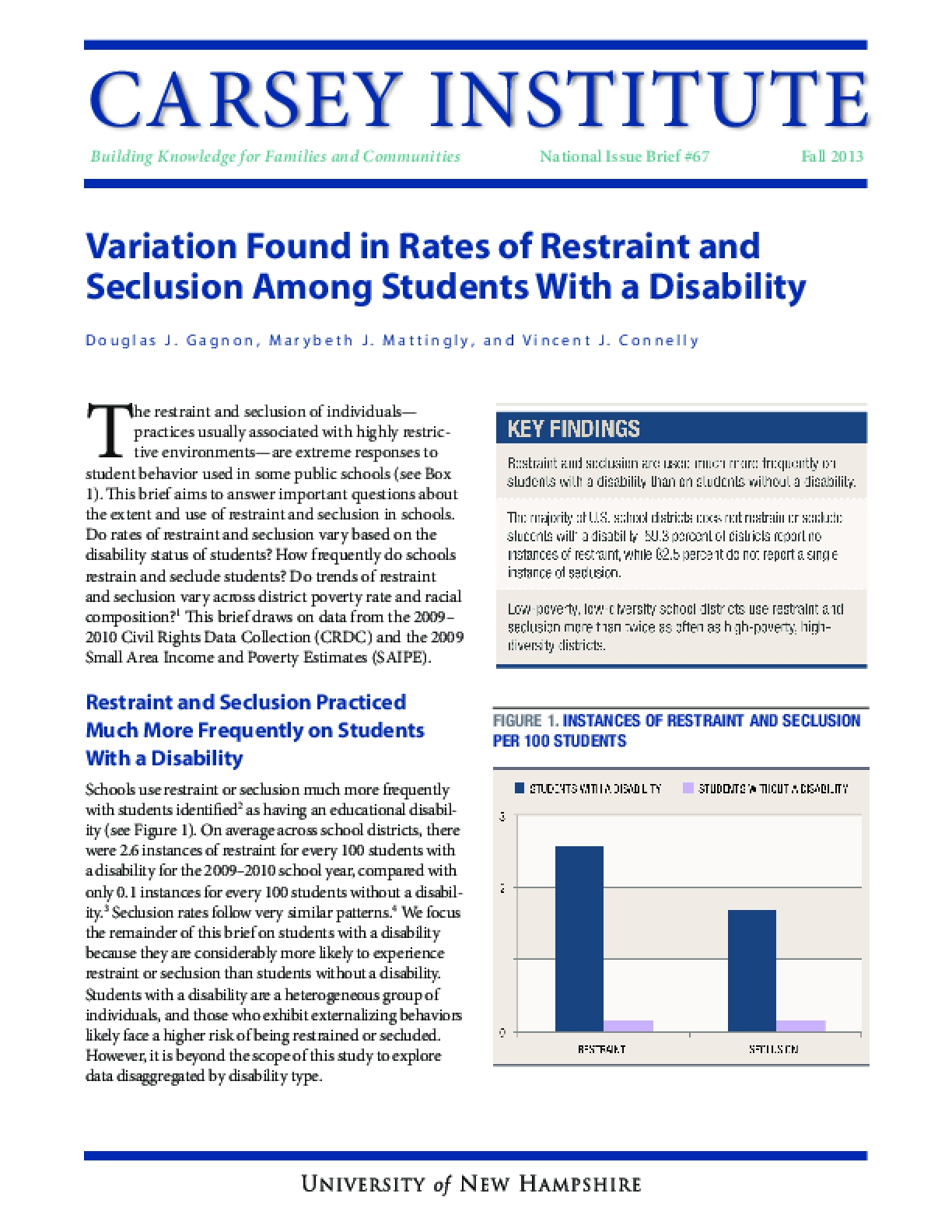 Variation Found in Rates of Restraint and Seclusion Among Students With a Disability