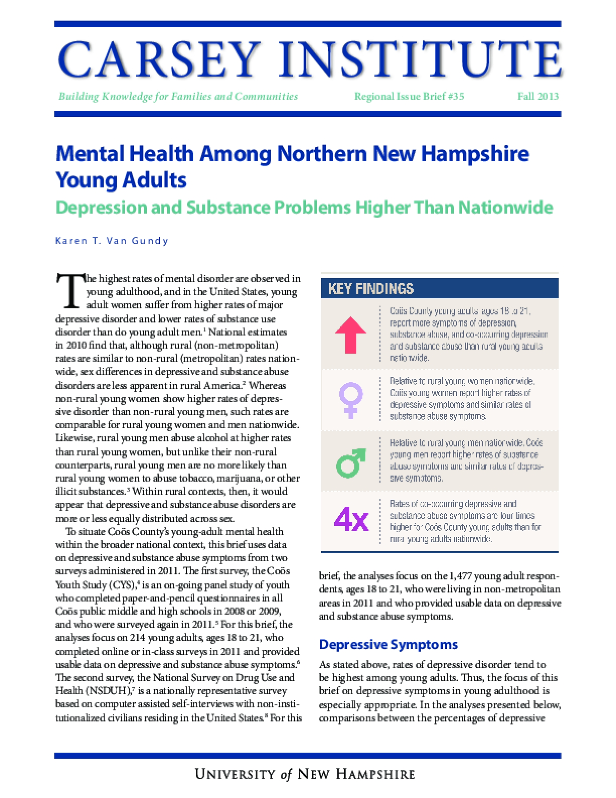 Mental Health Among Northern New Hampshire Young Adults