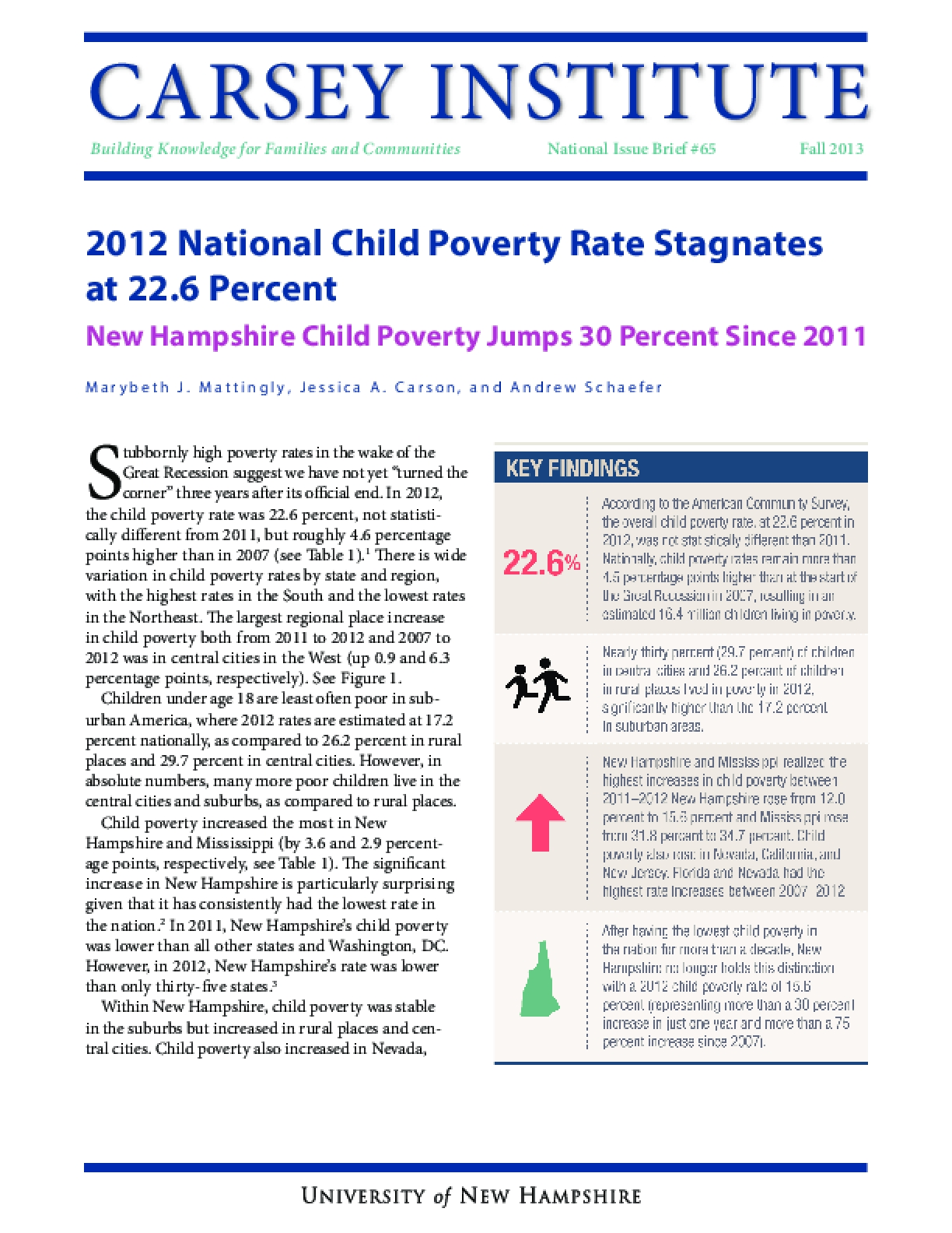2012 National Child Poverty Rate Stagnates at 22.6 Percent