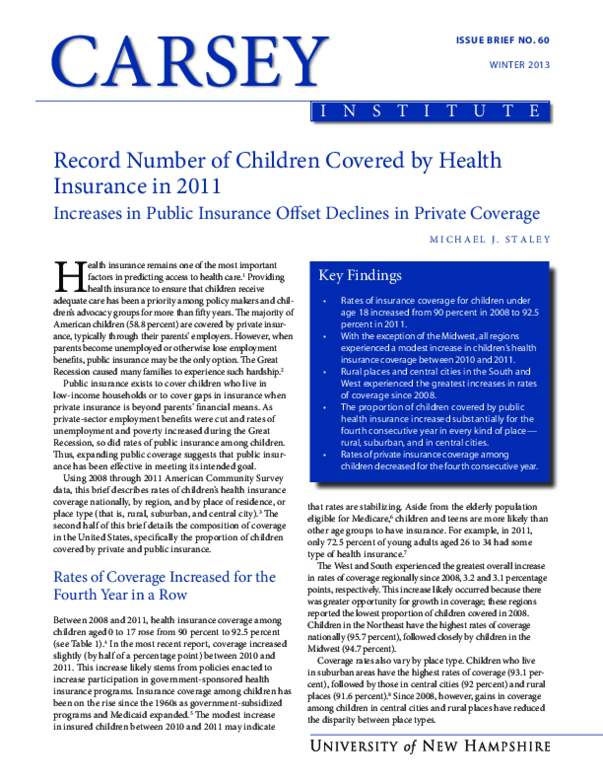 Record Number of Children Covered by Health Insurance in 2011