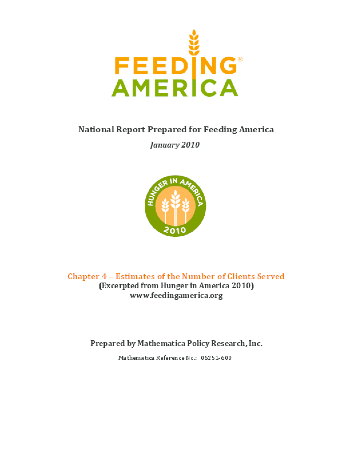 Estimates of the Number of Feeding America Clients Served