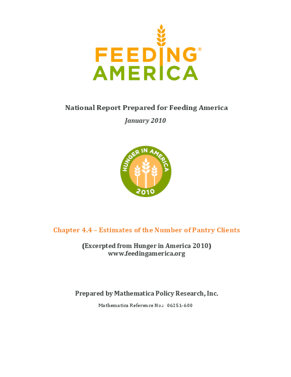 Estimates of the Number of Clients Served by Food Pantries in the Feeding America Network