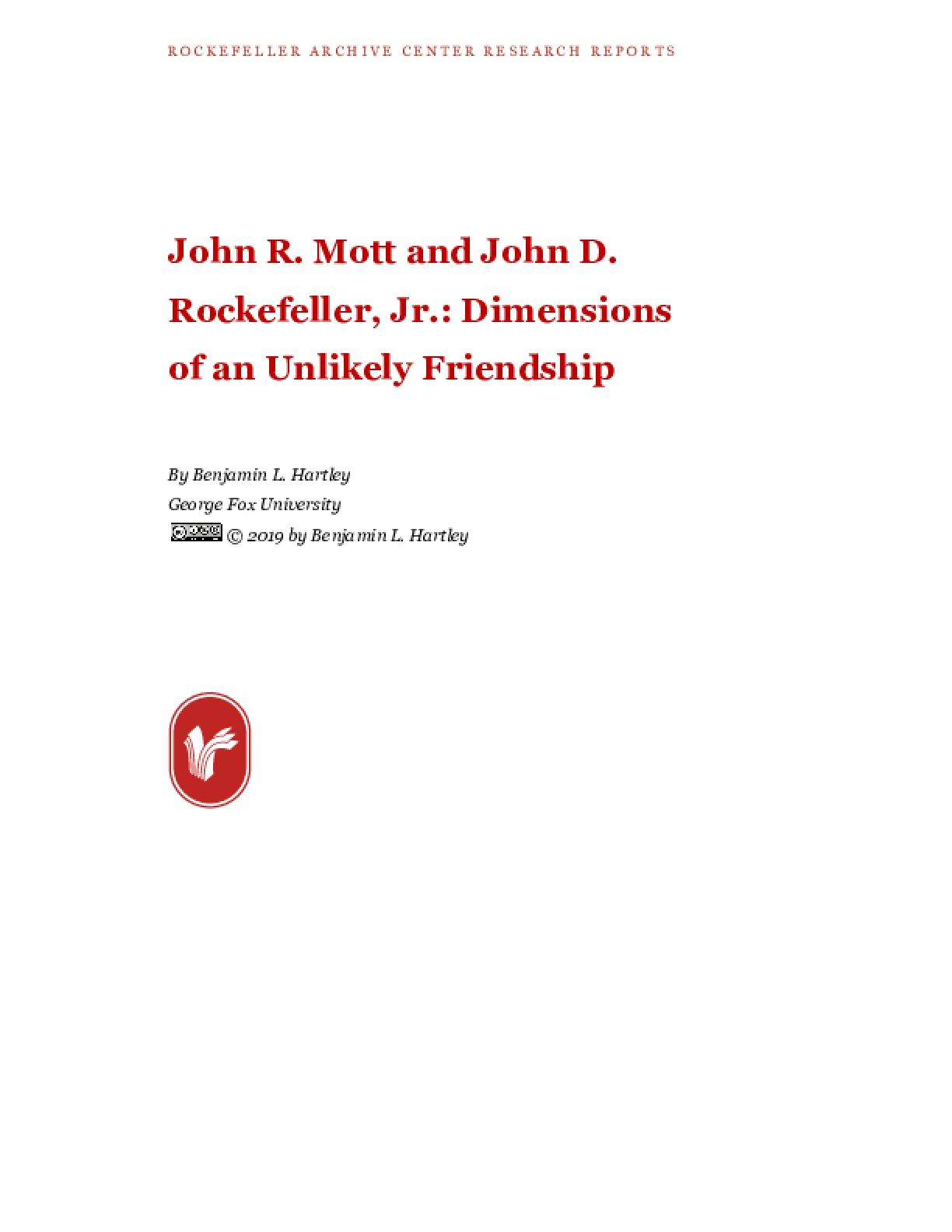 John R. Mott and John D. Rockefeller, Jr.: Dimensions of an Unlikely Friendship
