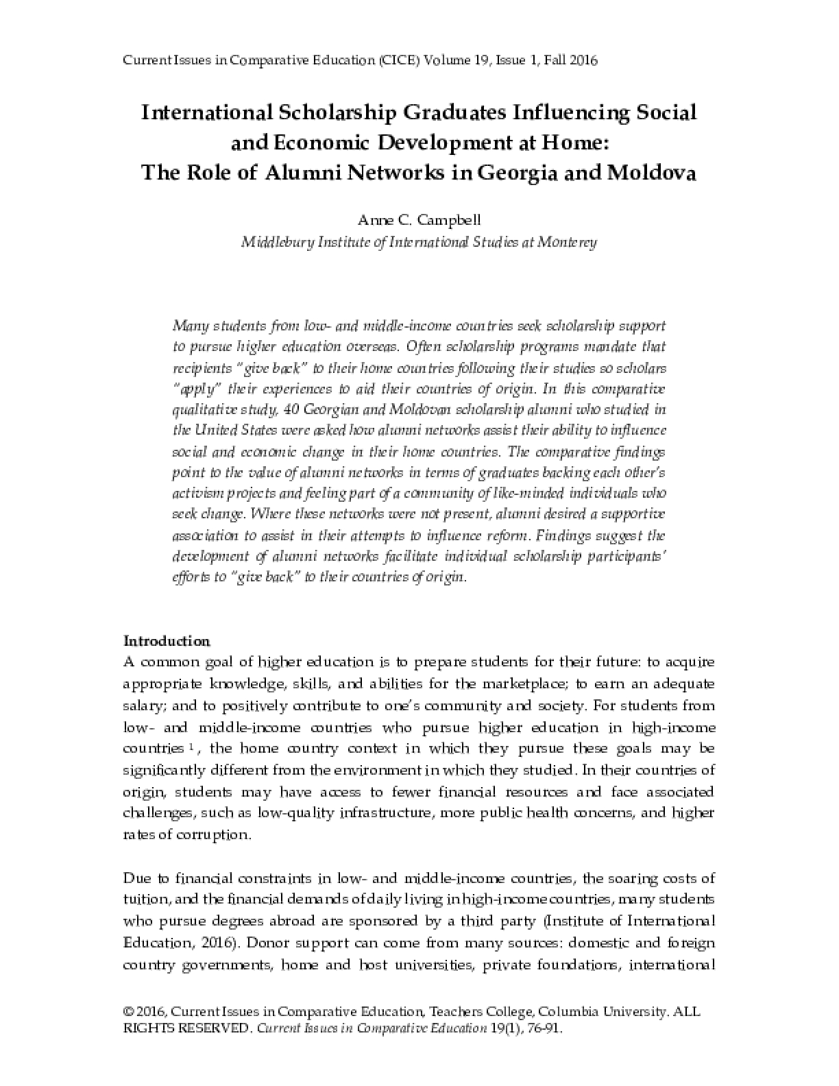 International Scholarship Graduates Influencing Social and Economic Development at Home: The Role of Alumni Networks in Georgia and Moldova
