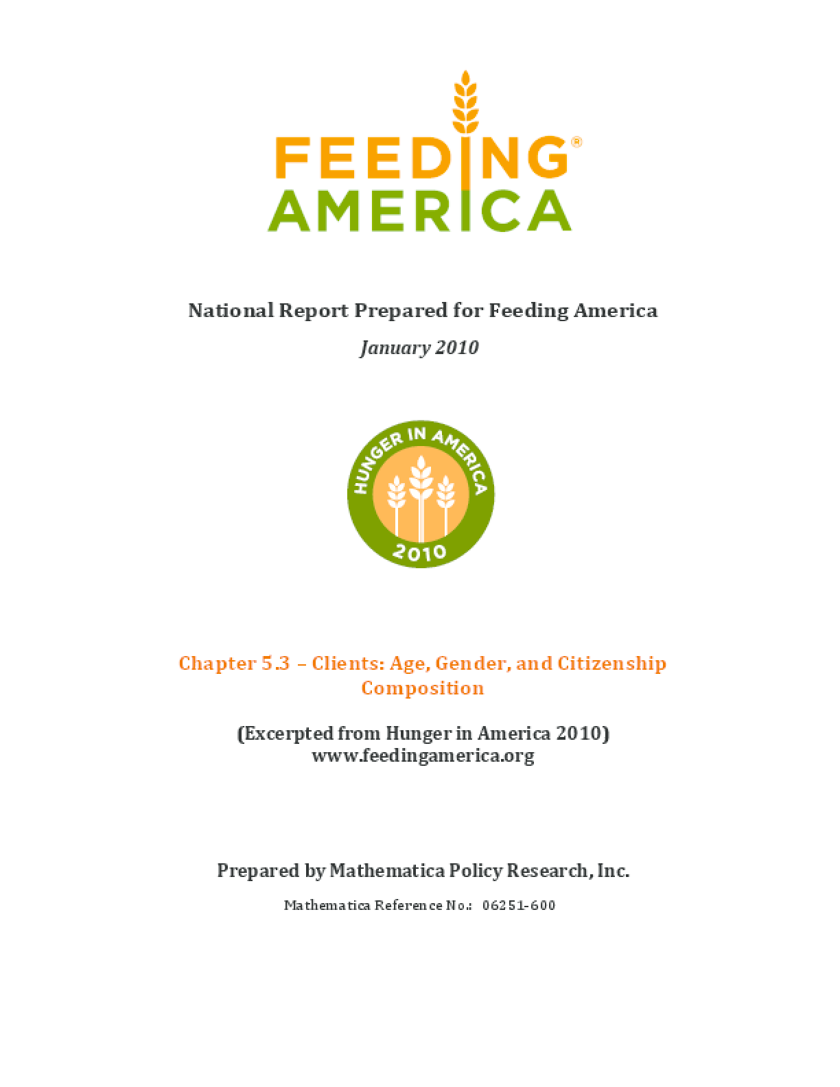 Feeding America Client Demographics: Age, Gender, and Citizenship Composition