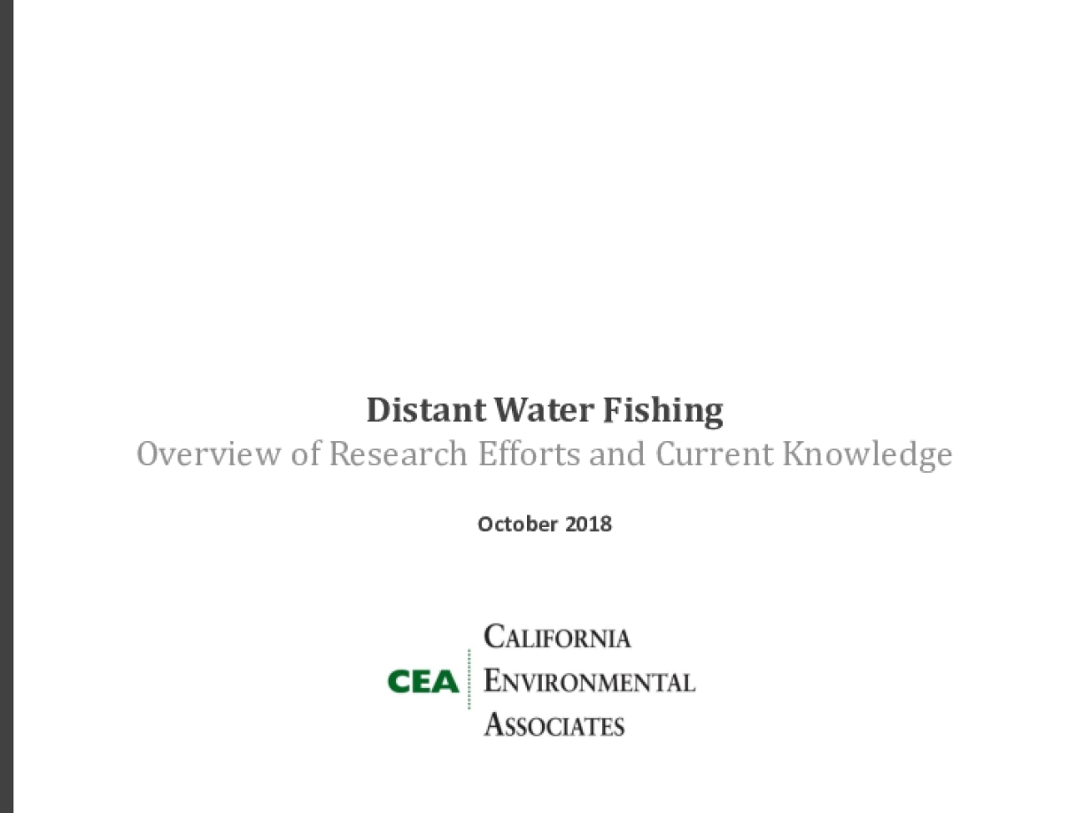 Distant Water Fishing: Overview of Research Efforts and Current Knowledge