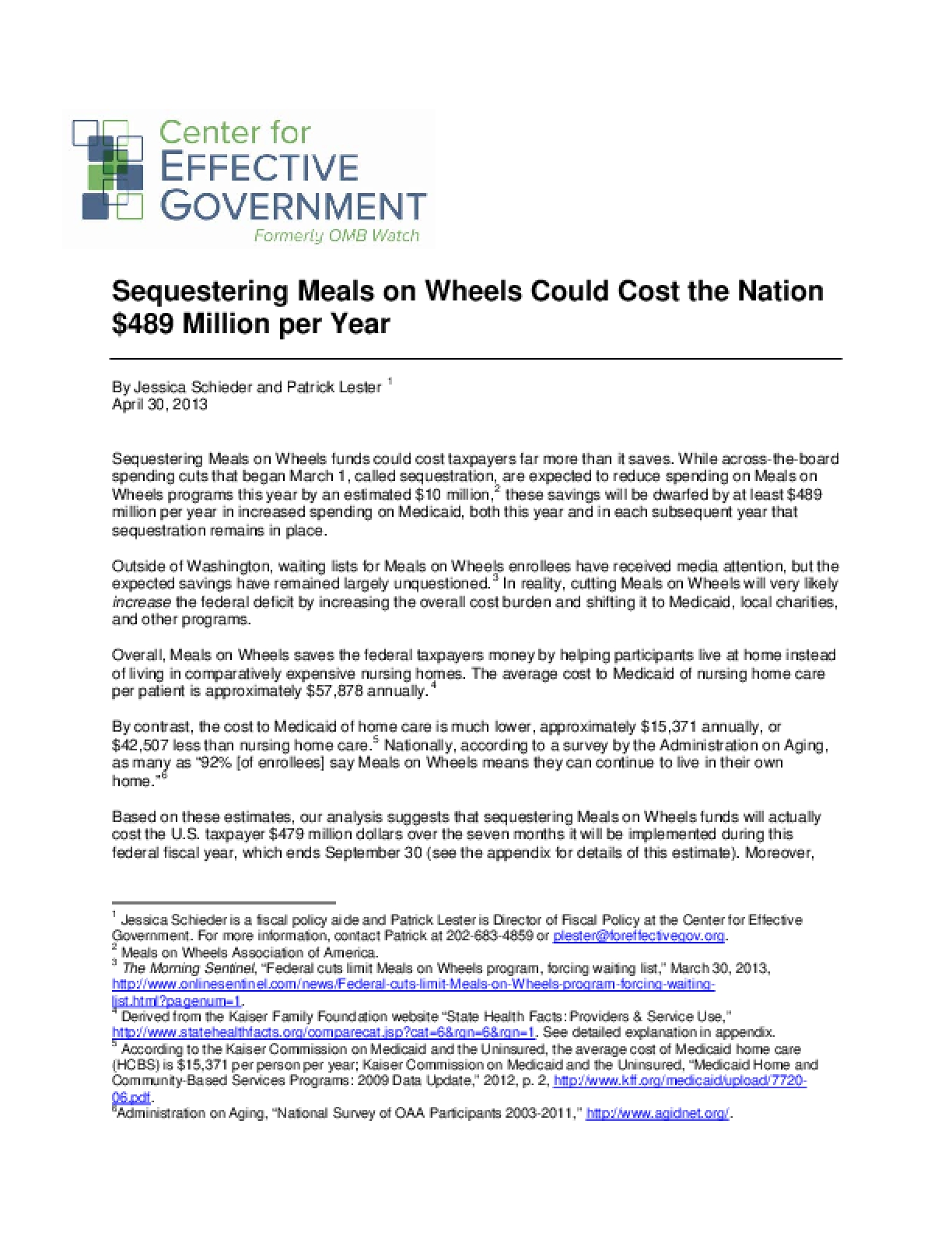 What's At Stake: Sequestering Meals on Wheels Could Cost the Nation $489 Million per Year