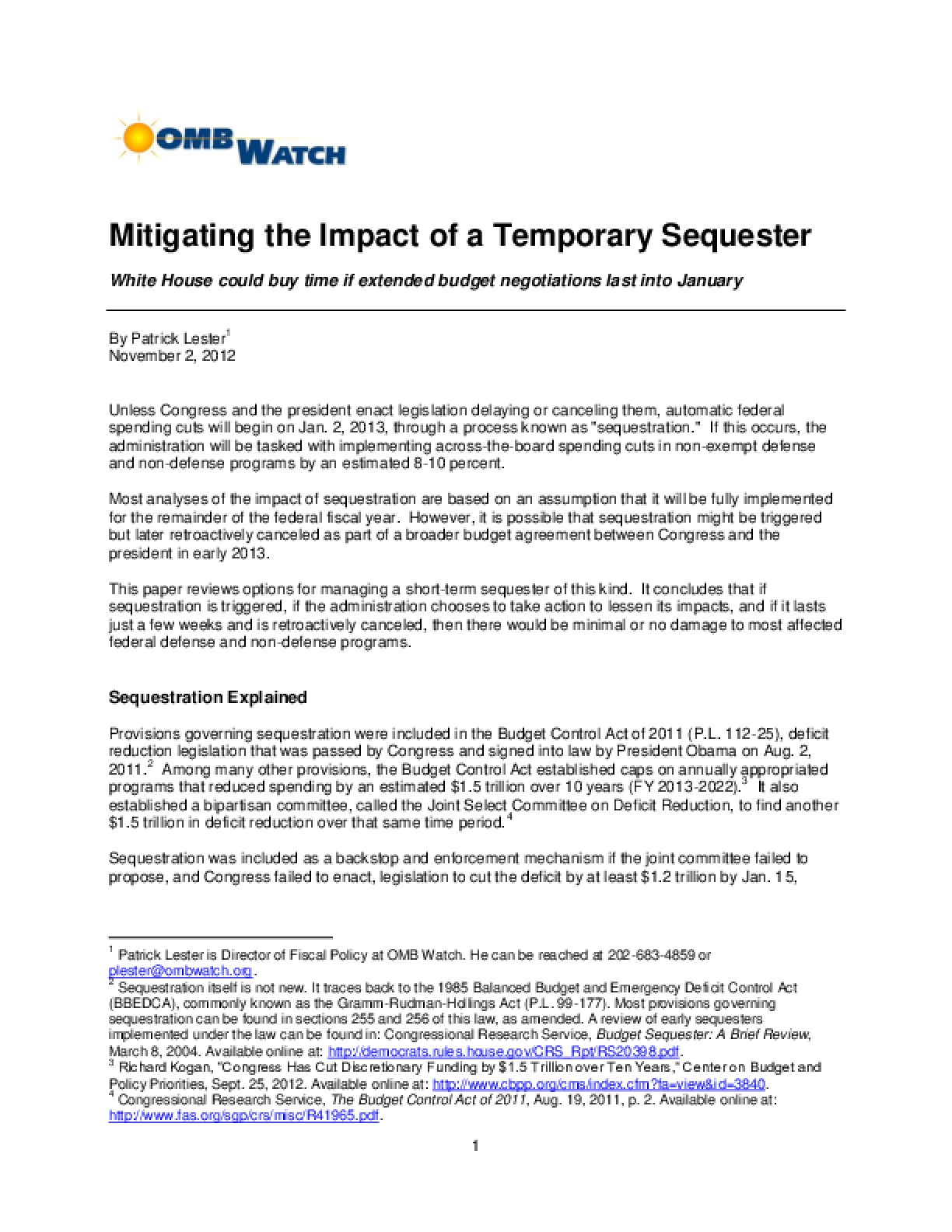 Mitigating the Impact of a Temporary Sequester