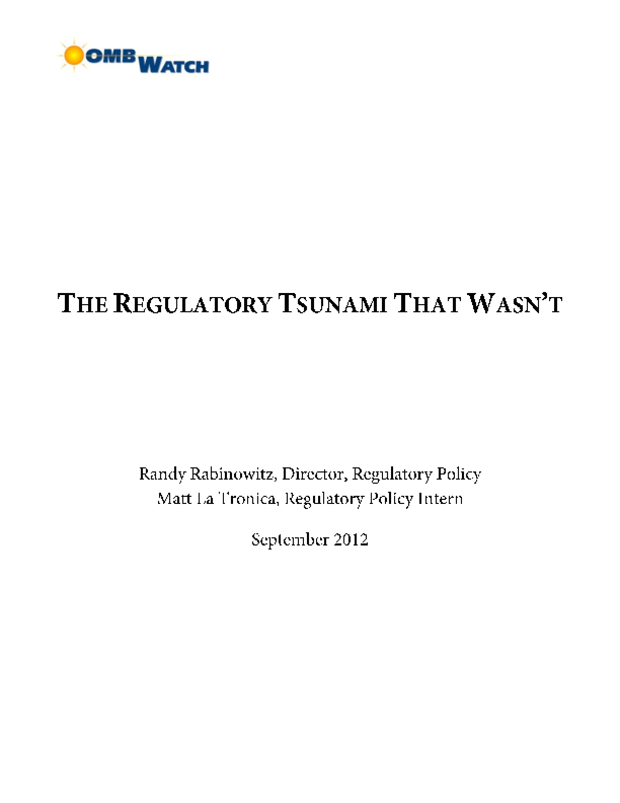 The Regulatory Tsunami That Wasn't