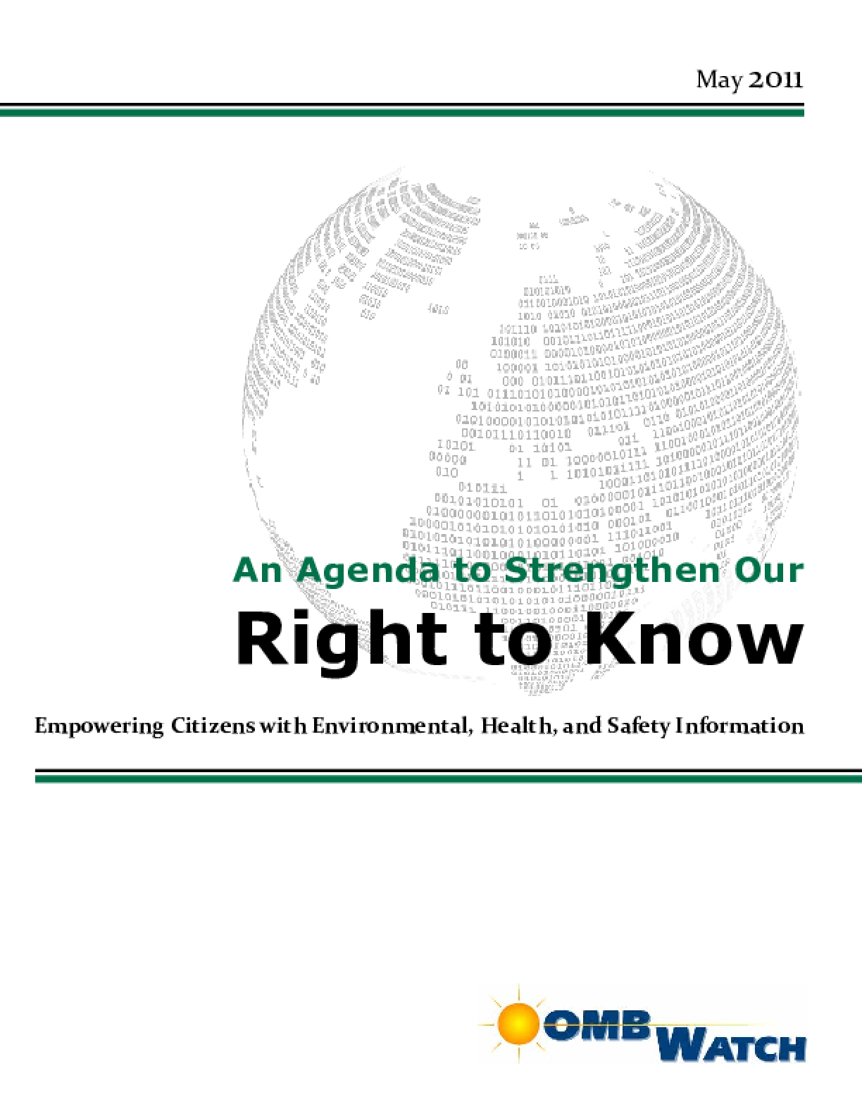 An Agenda to Strengthen Our Right to Know: Empowering Citizens with Environmental, Health, and Safety Information