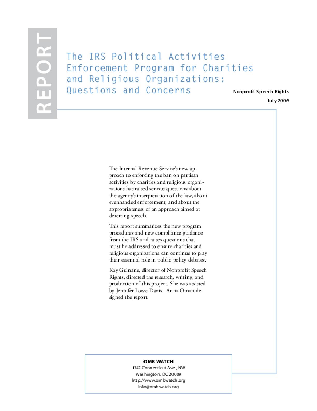 IRS Political Activities Enforcement Program for Nonprofit Groups: Questions & Concerns
