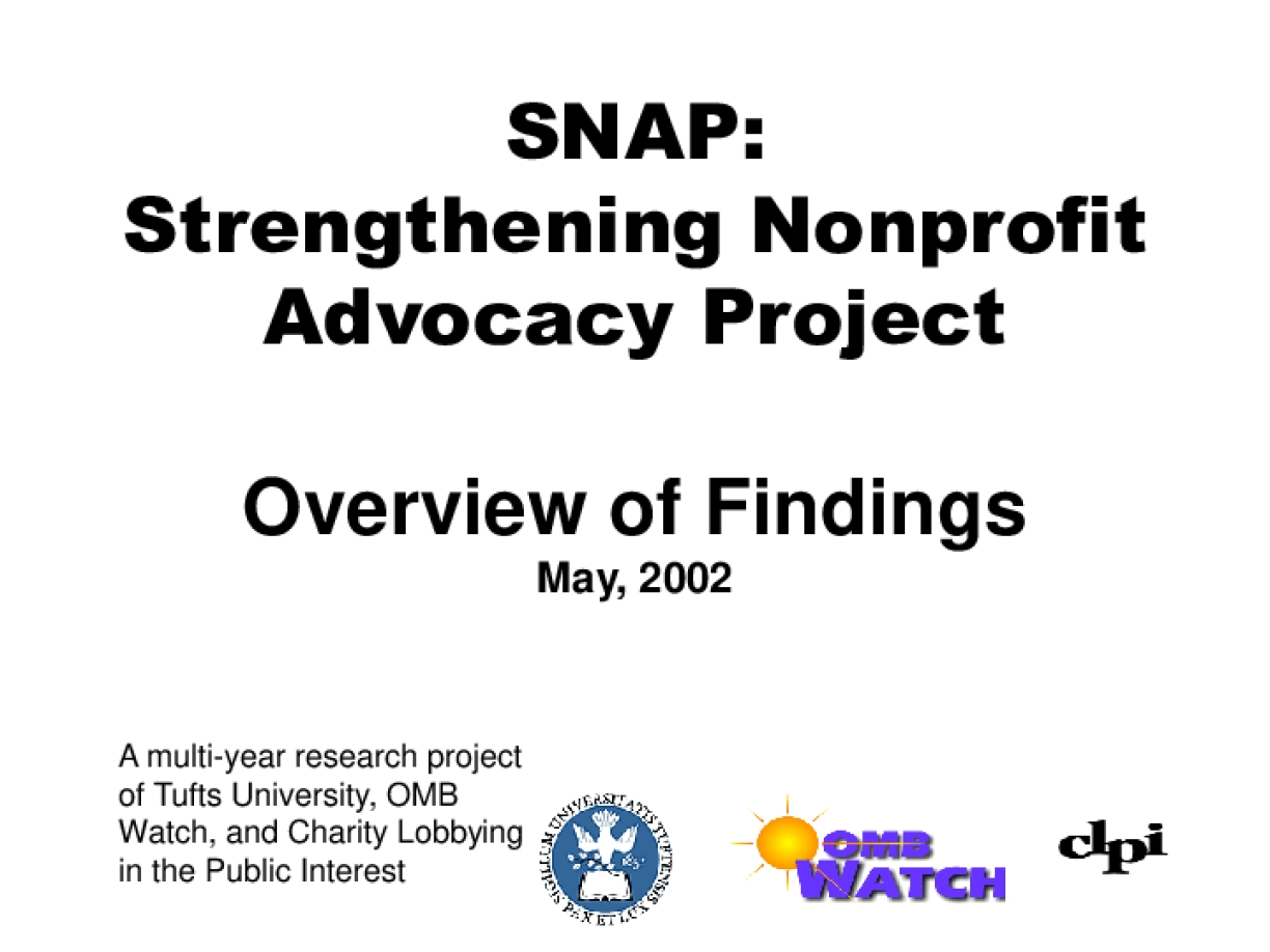 Research on Nonprofit Advocacy Released