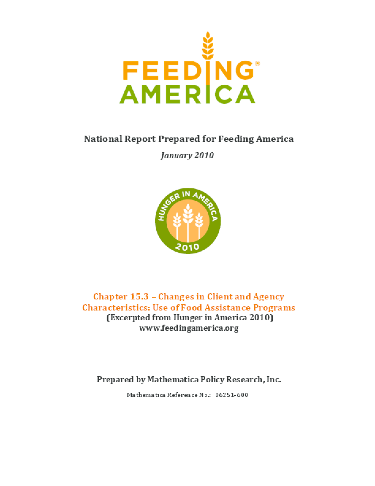 Changes in Feeding America Client and Agency Characteristics: Use of Food Assistance Programs