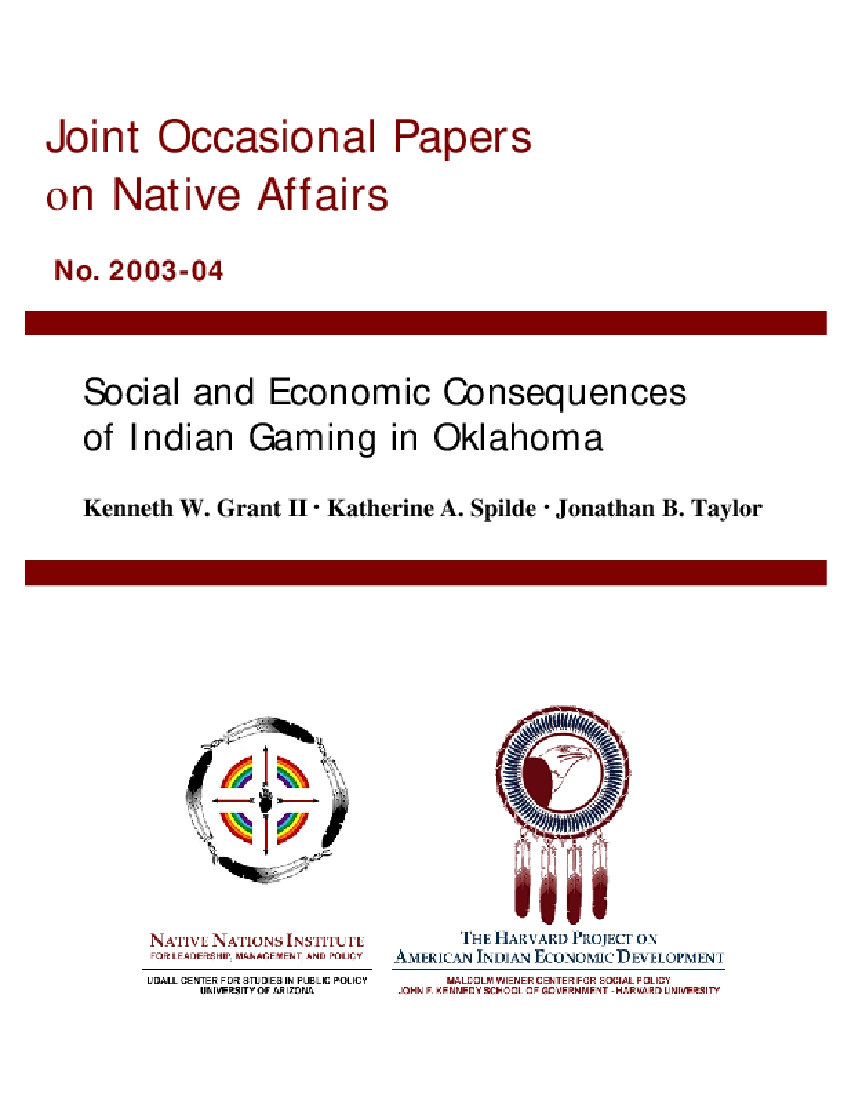 Social and Economic Consequences of Indian Gaming in Oklahoma