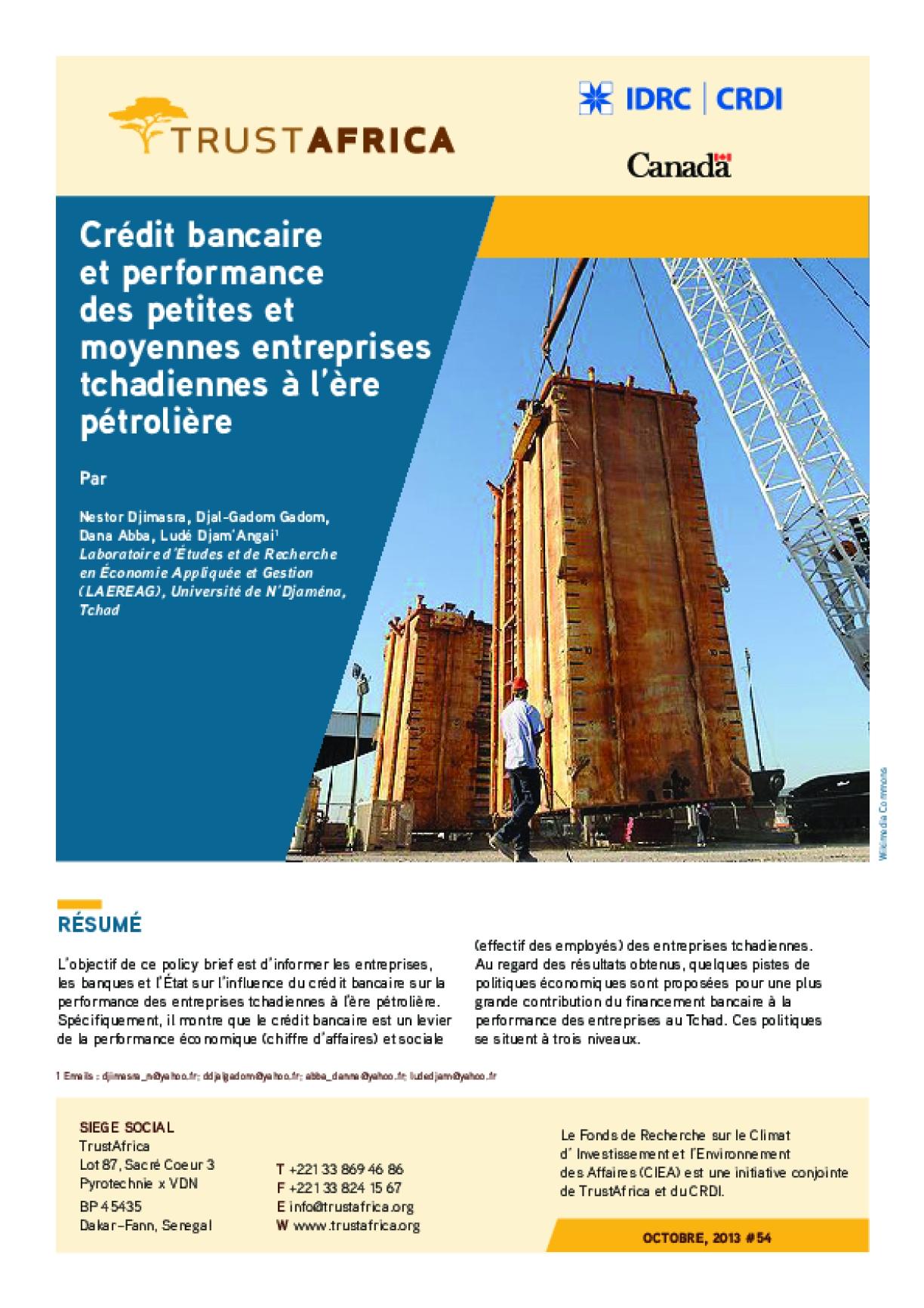 Crédit Bancaire Et Performance Des Petites Et Moyennes Entreprises Tchadiennes À L'ère Pétrolière
