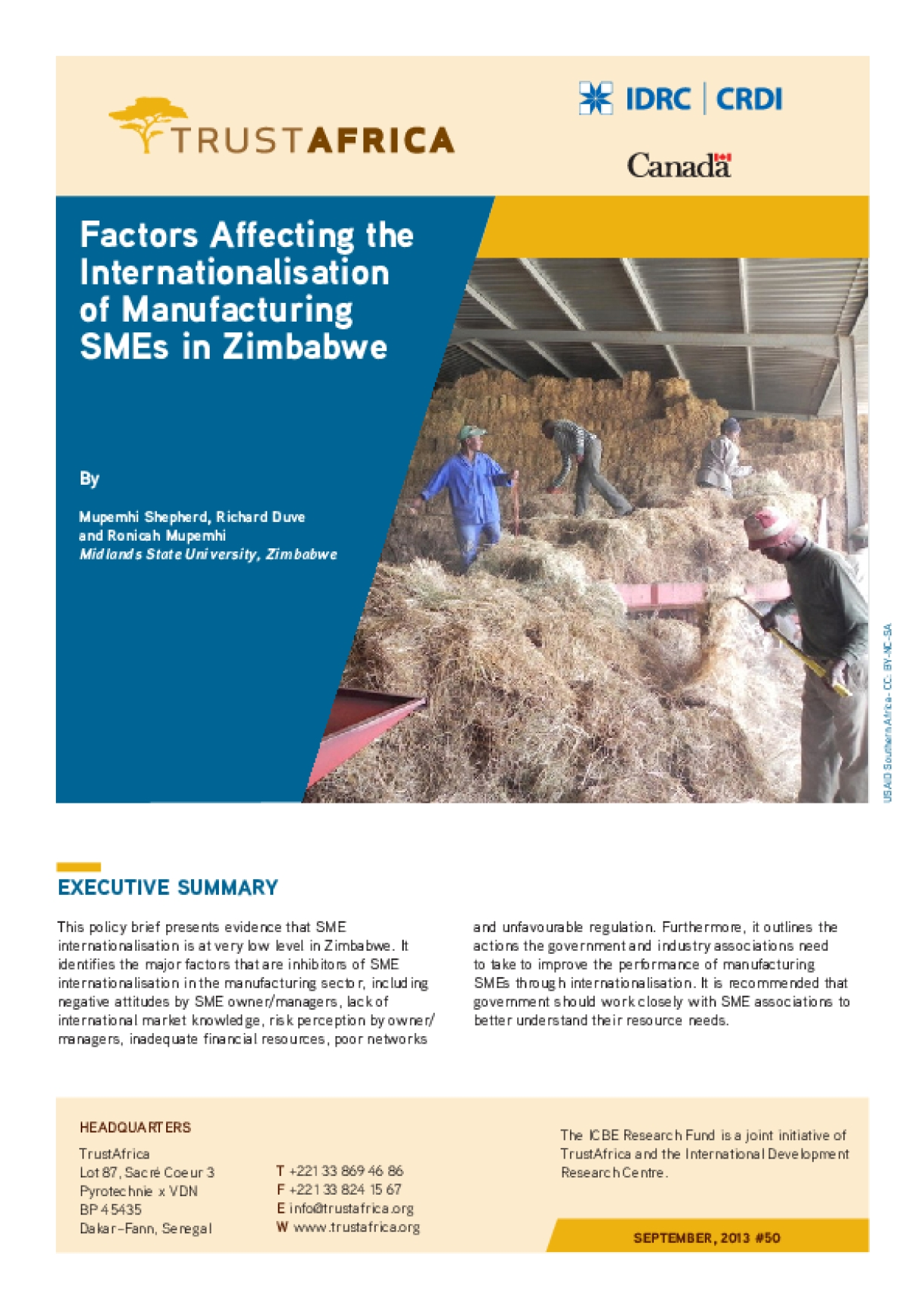 Factors Affecting the Internationalisation of Manufacturing SMEs in Zimbabwe