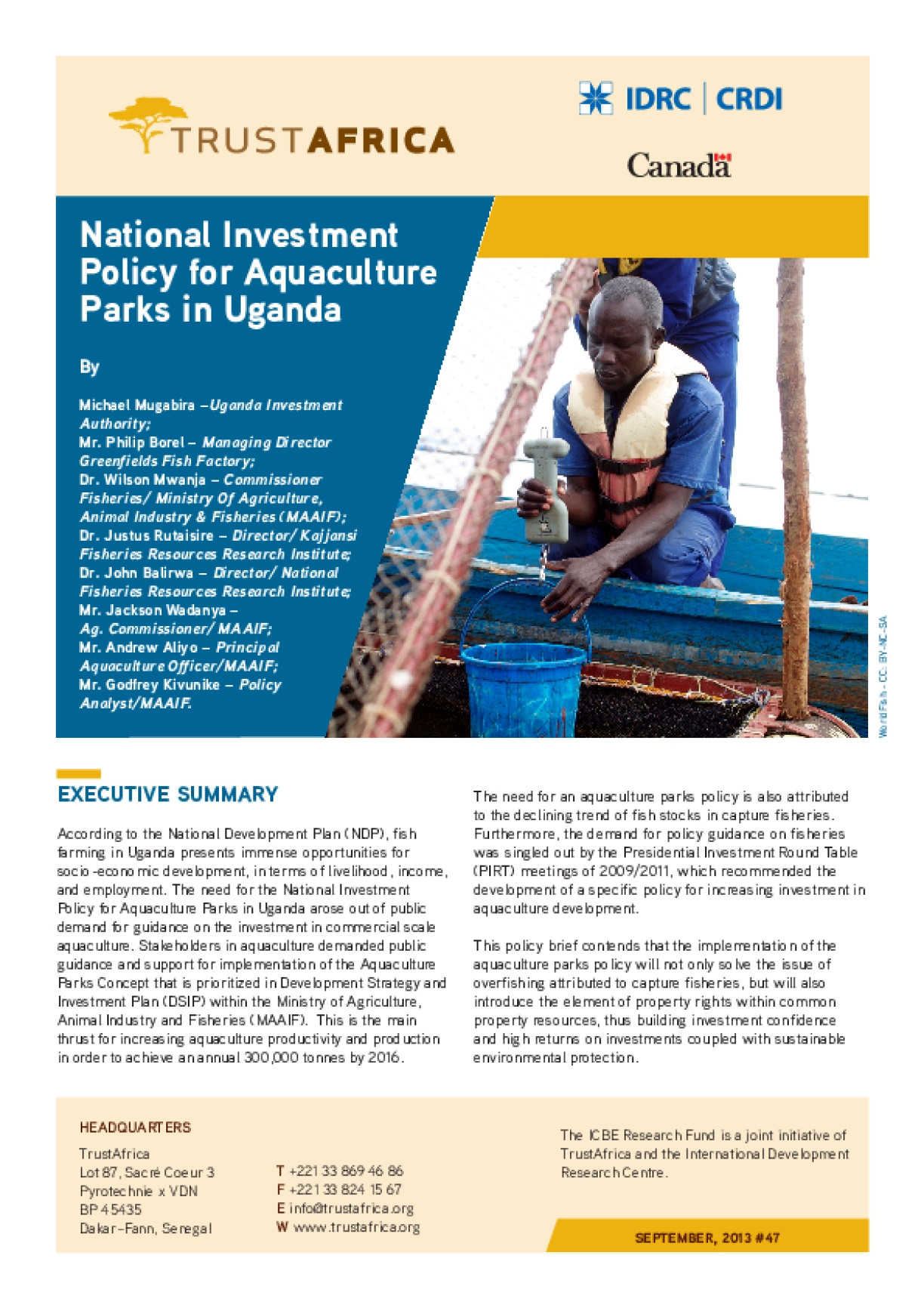National Investment Policy for Aquaculture Parks in Uganda