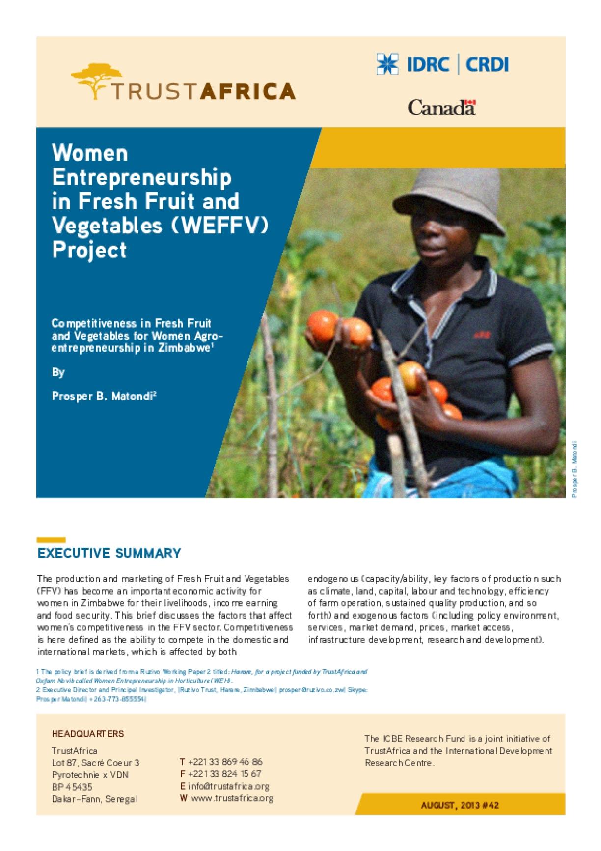 Women Entrepreneurship in Fresh Fruit and Vegetables (WEFFV) Project